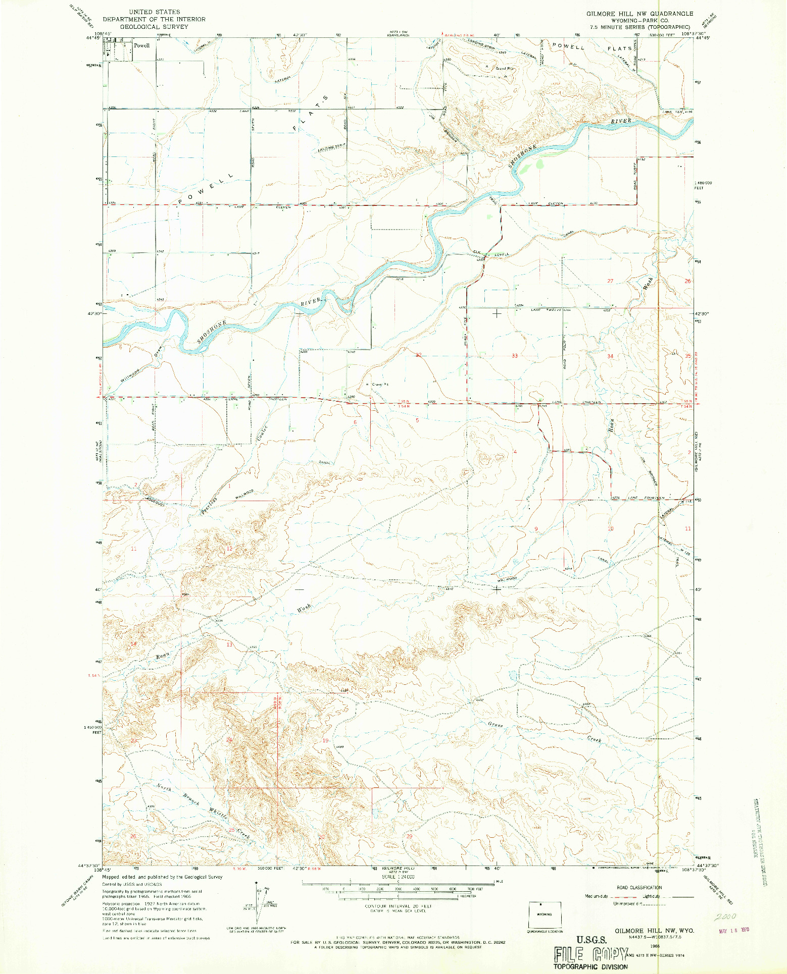 USGS 1:24000-SCALE QUADRANGLE FOR GILMORE HILL NW, WY 1966