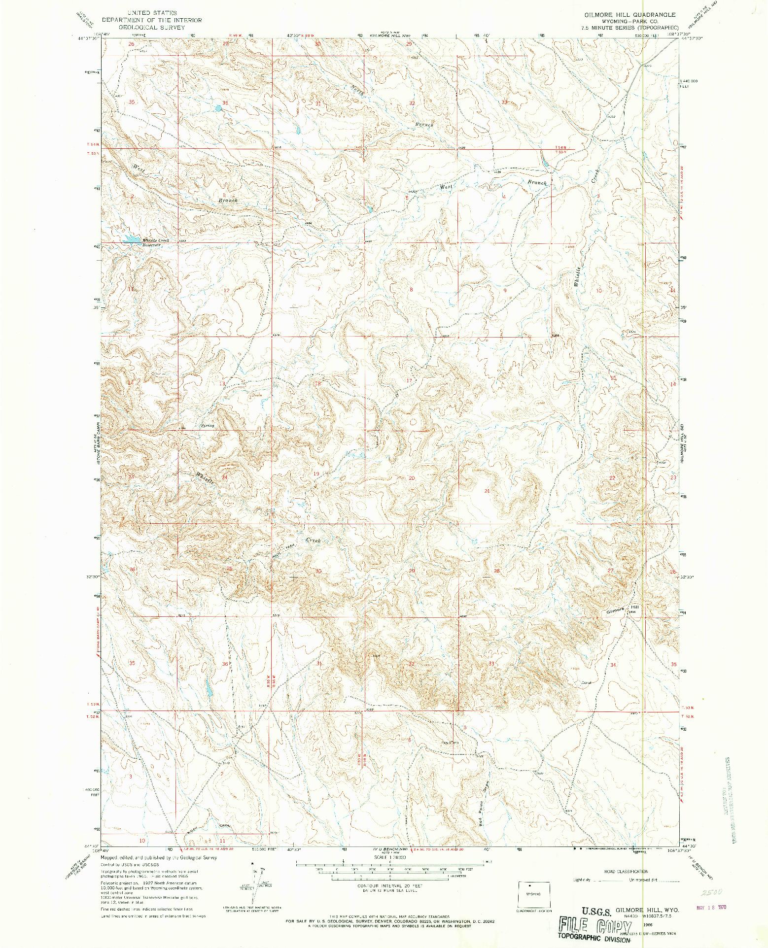 USGS 1:24000-SCALE QUADRANGLE FOR GILMORE HILL, WY 1966
