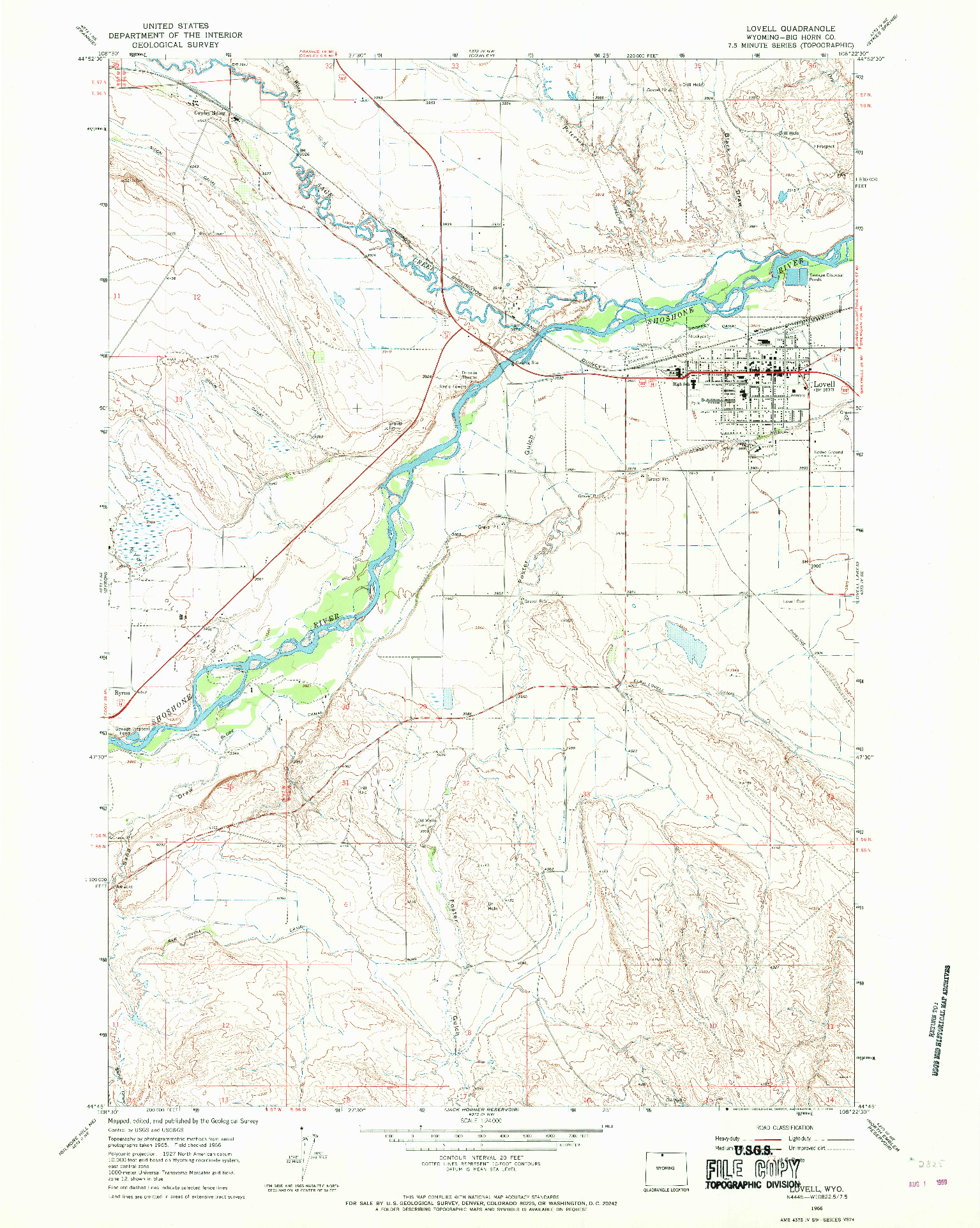 USGS 1:24000-SCALE QUADRANGLE FOR LOVELL, WY 1966