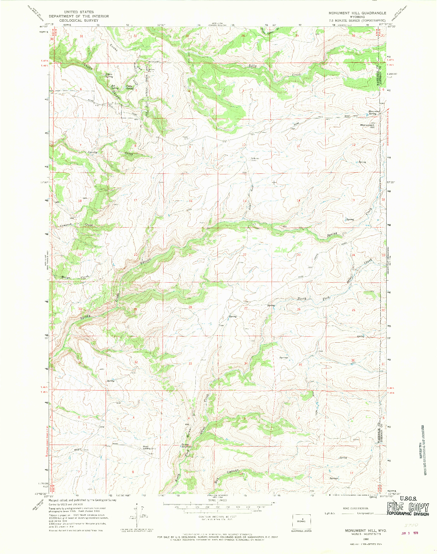 USGS 1:24000-SCALE QUADRANGLE FOR MONUMENT HILL, WY 1966