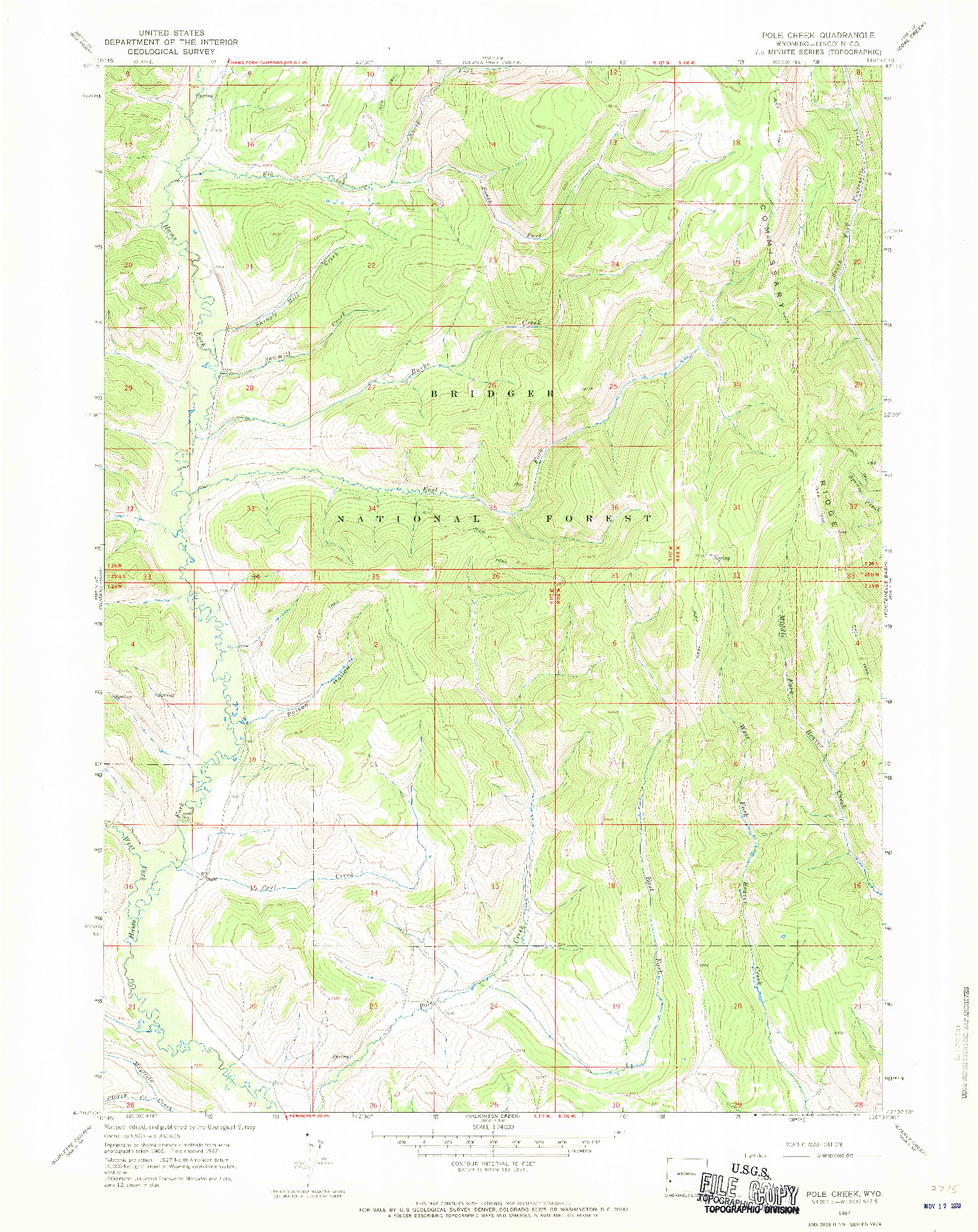 USGS 1:24000-SCALE QUADRANGLE FOR POLE CREEK, WY 1967