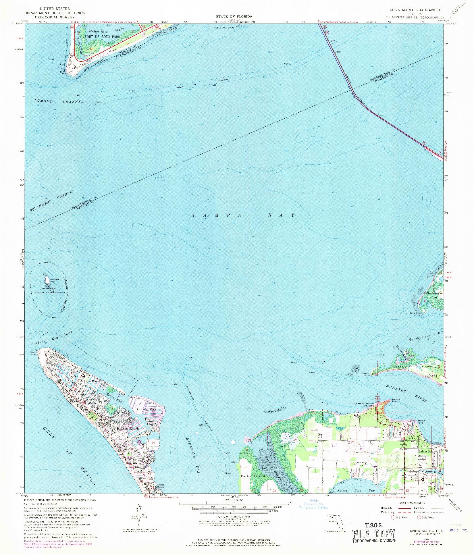 USGS 1:24000-SCALE QUADRANGLE FOR ANNA MARIA, FL 1964