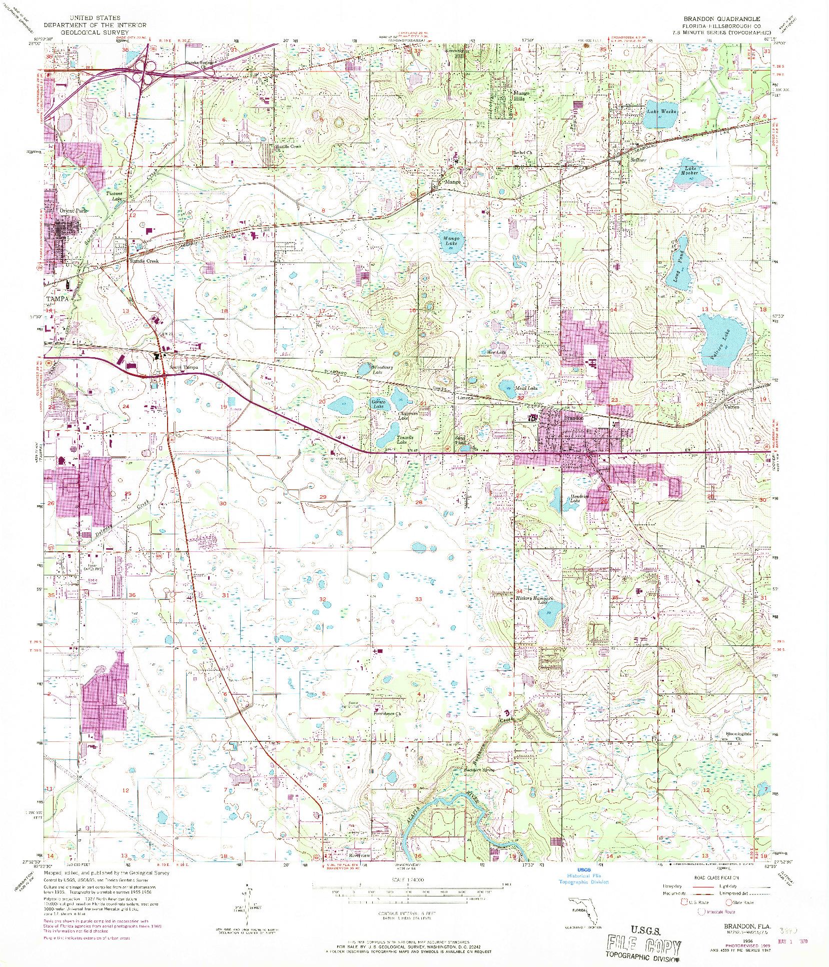 USGS 1:24000-SCALE QUADRANGLE FOR BRANDON, FL 1956