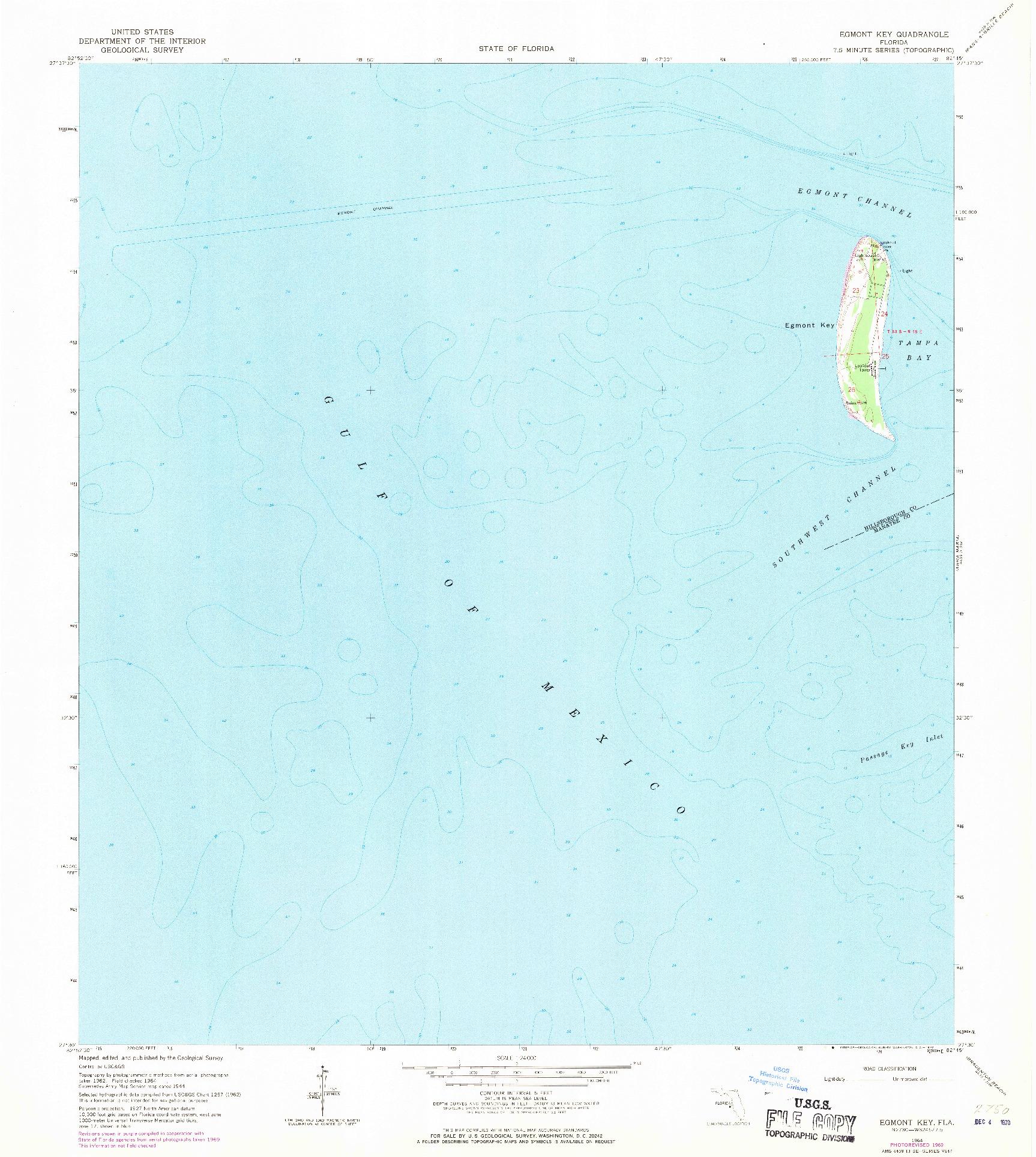USGS 1:24000-SCALE QUADRANGLE FOR EGMONT KEY, FL 1964