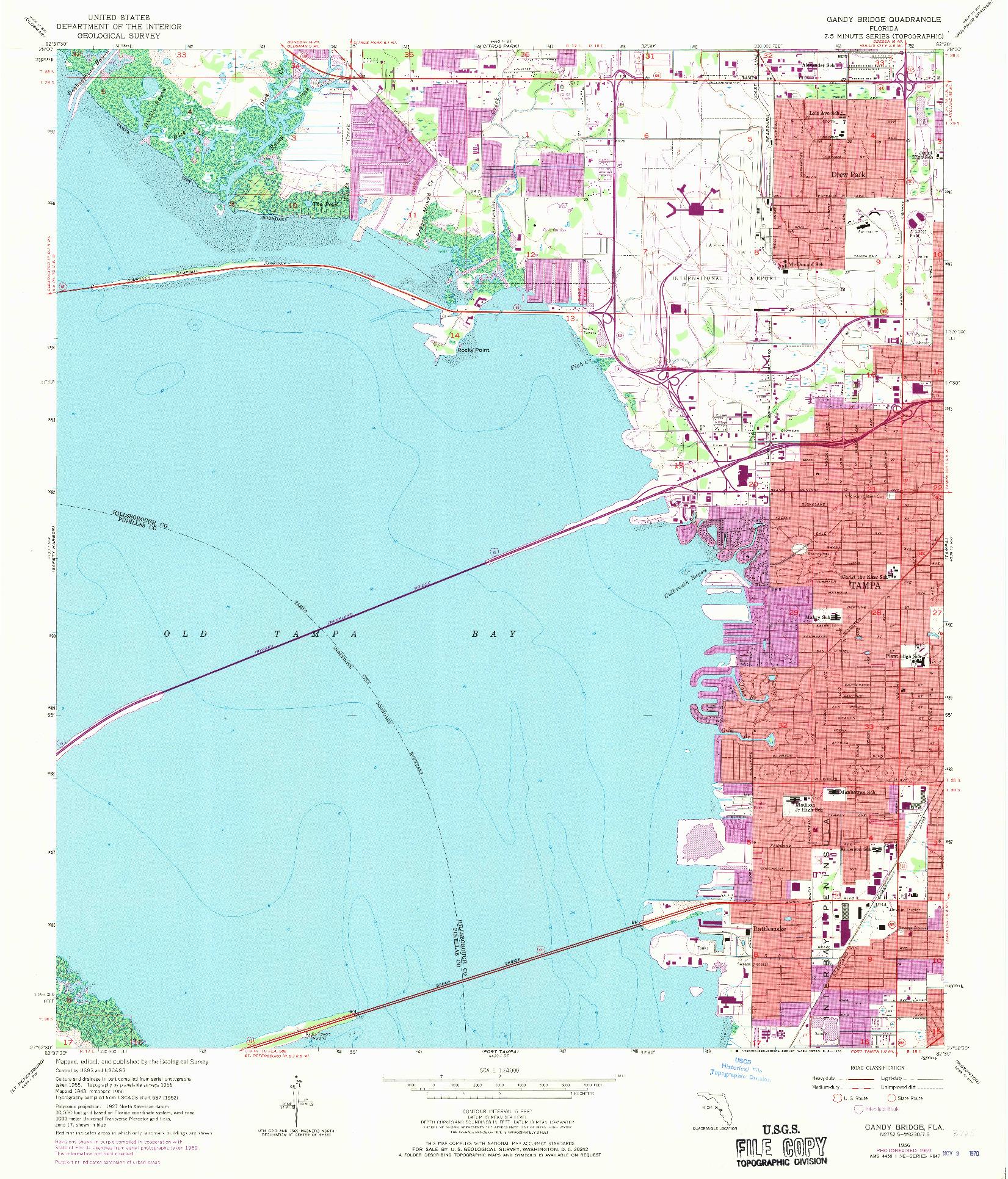 USGS 1:24000-SCALE QUADRANGLE FOR GANDY BRIDGE, FL 1956