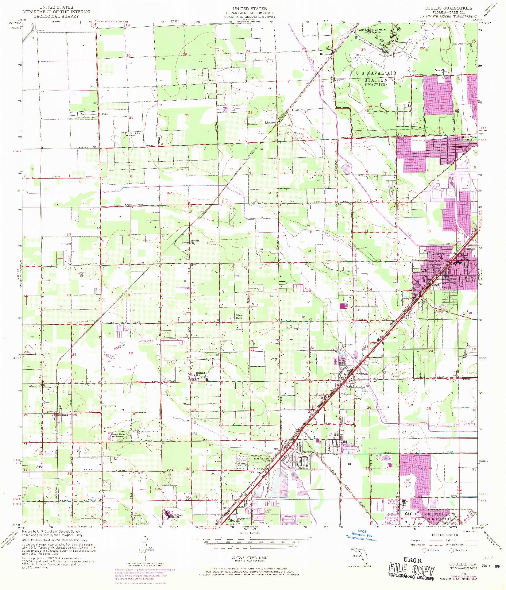 USGS 1:24000-SCALE QUADRANGLE FOR GOULDS, FL 1956
