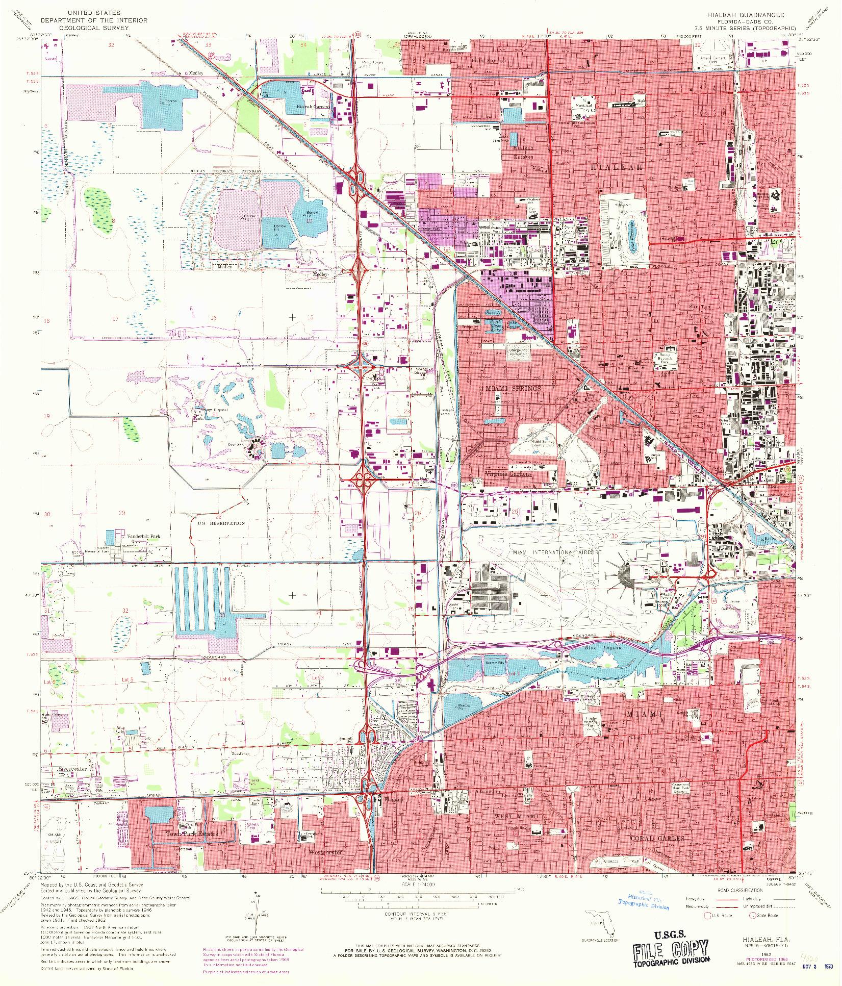 USGS 1:24000-SCALE QUADRANGLE FOR HIALEAH, FL 1962