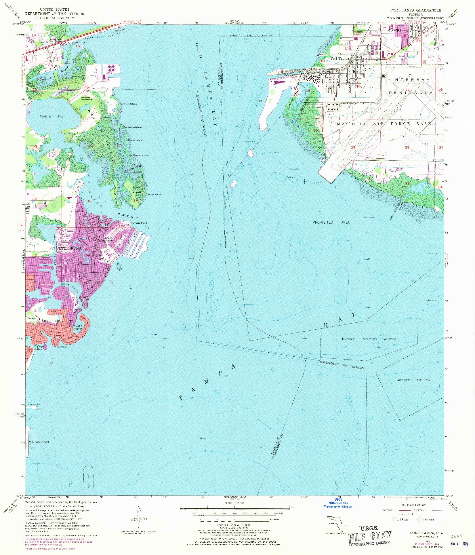 USGS 1:24000-SCALE QUADRANGLE FOR PORT TAMPA, FL 1956