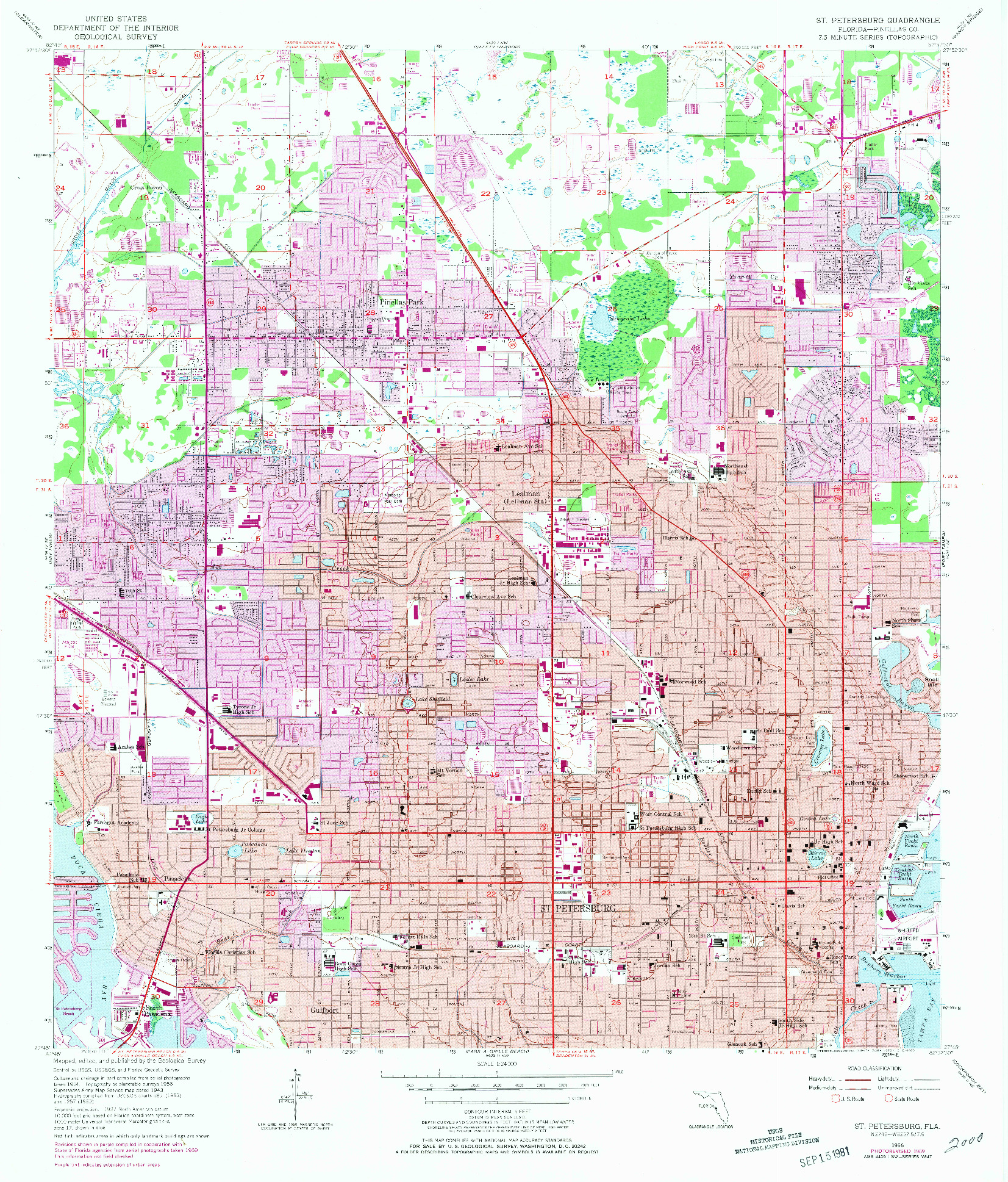 USGS 1:24000-SCALE QUADRANGLE FOR ST. PETERSBURG, FL 1956
