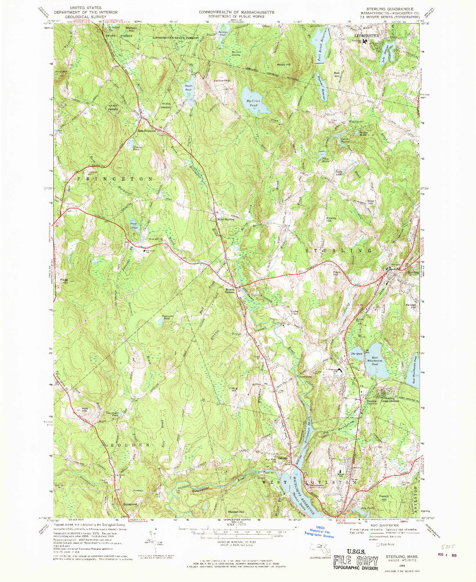 USGS 1:24000-SCALE QUADRANGLE FOR STERLING, MA 1968