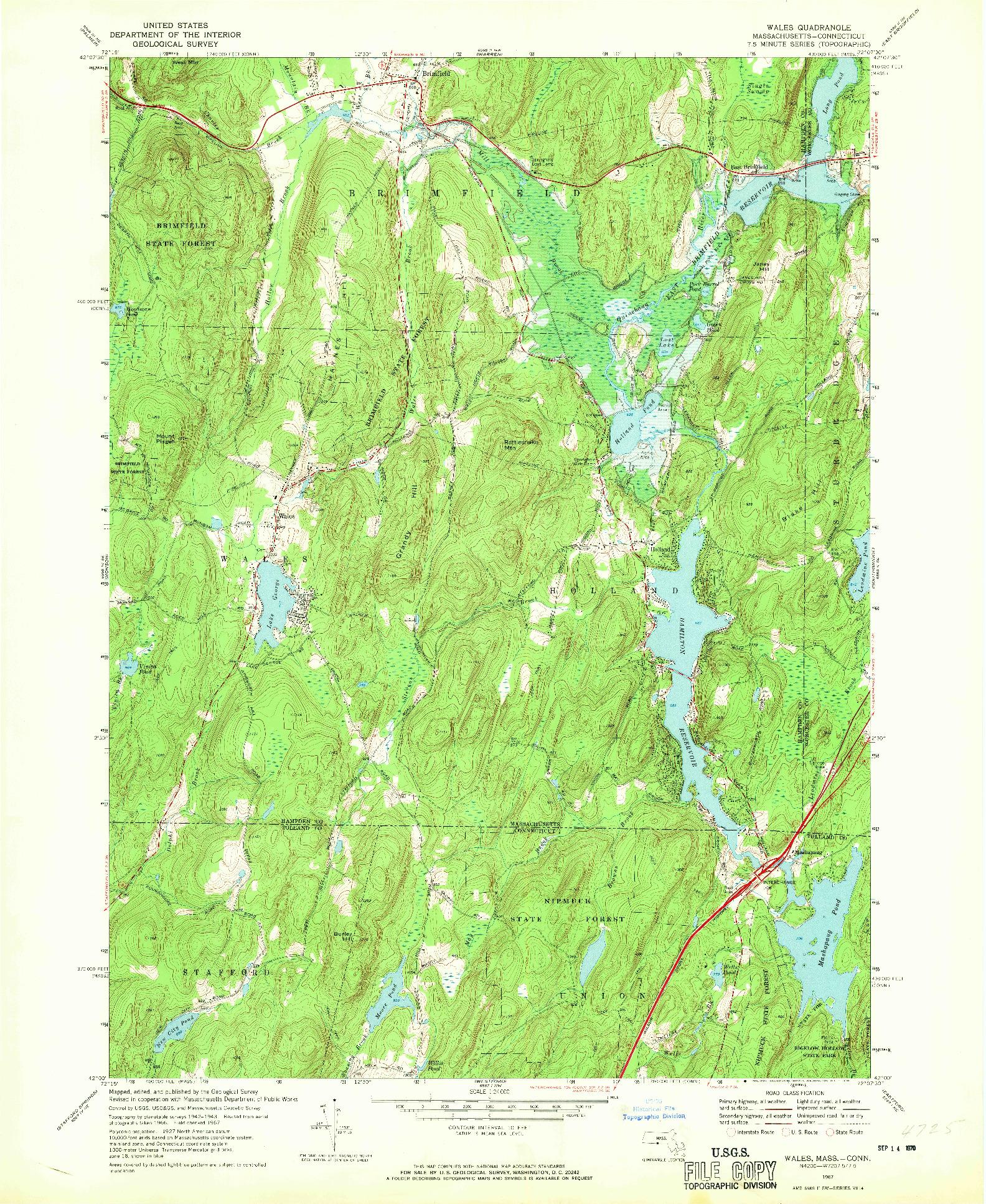 USGS 1:24000-SCALE QUADRANGLE FOR WALES, MA 1967