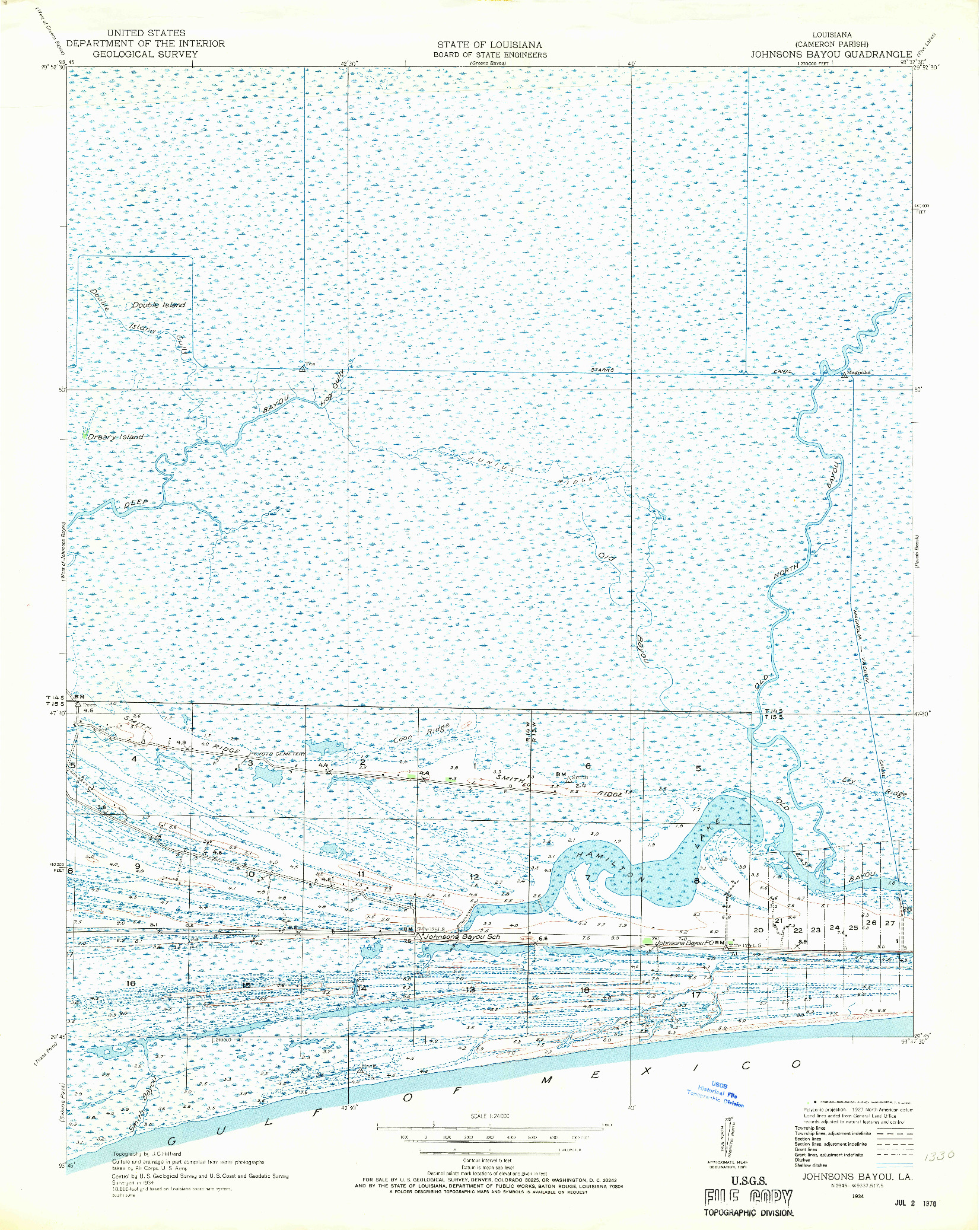 USGS 1:24000-SCALE QUADRANGLE FOR JOHNSONS BAYOU, LA 1934