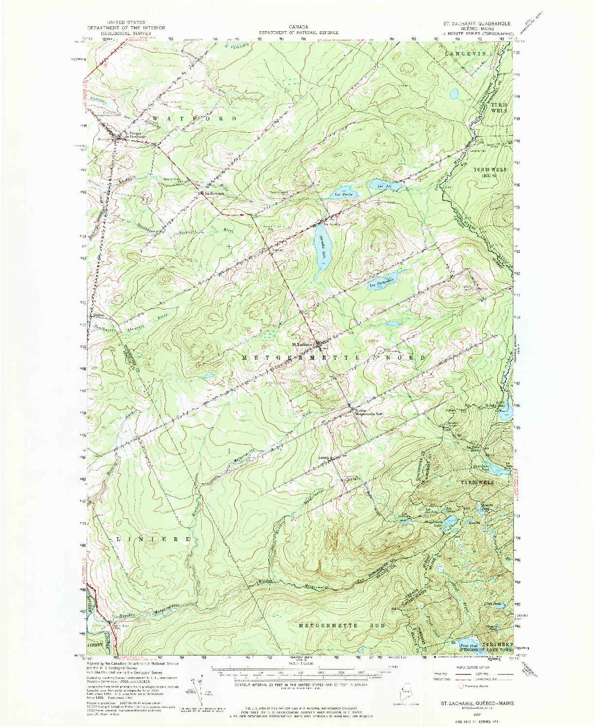 USGS 1:62500-SCALE QUADRANGLE FOR ST. ZACHARIE, ME 1957