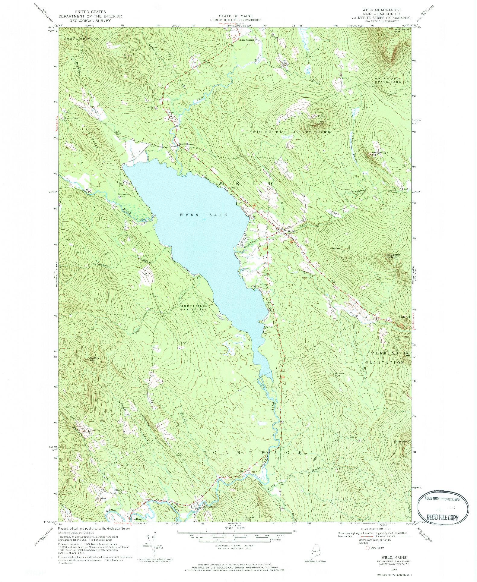 USGS 1:24000-SCALE QUADRANGLE FOR WELD, ME 1968