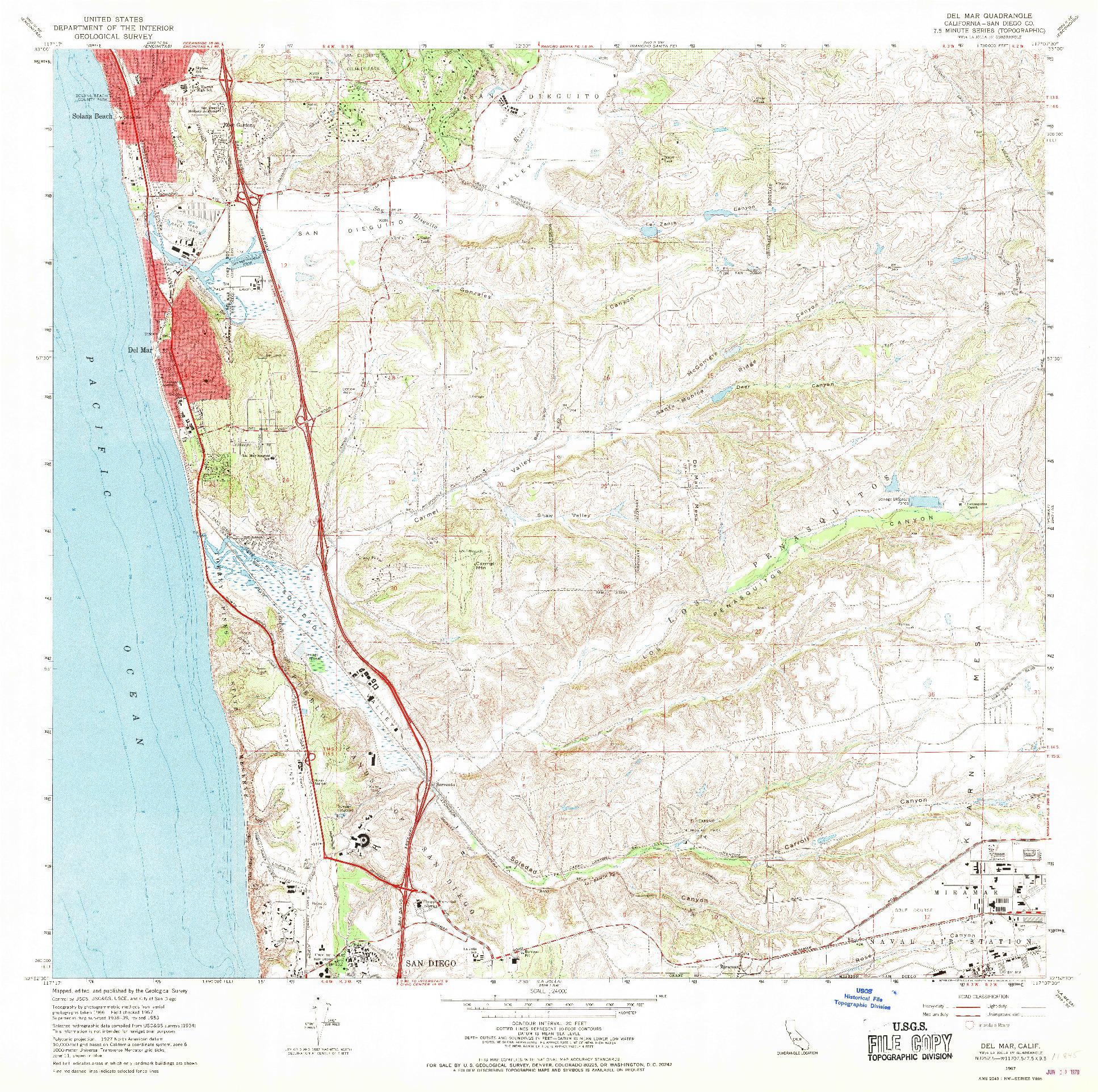 USGS 1:24000-SCALE QUADRANGLE FOR DEL MAR, CA 1967