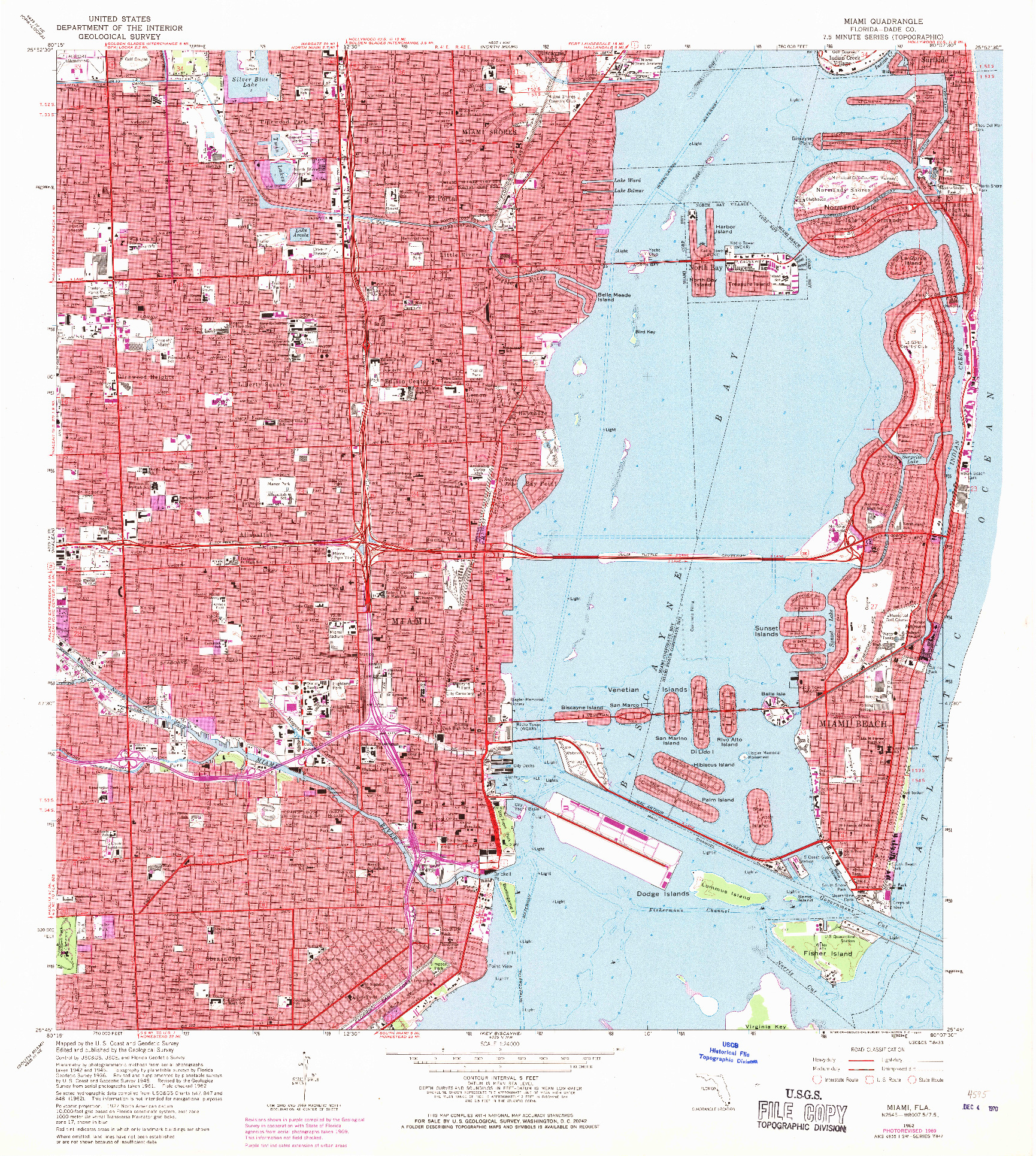 USGS 1:24000-SCALE QUADRANGLE FOR MIAMI, FL 1962
