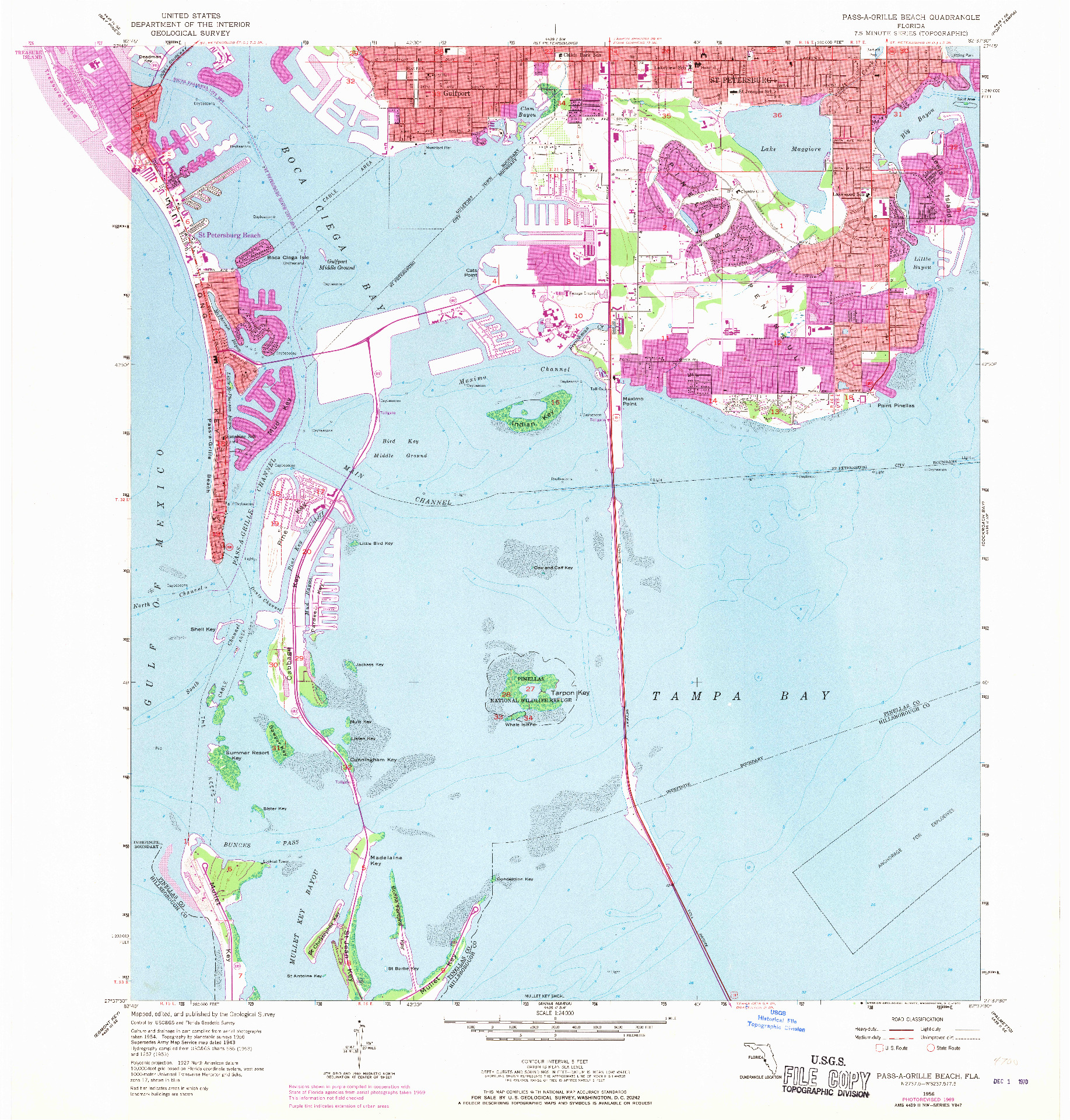 USGS 1:24000-SCALE QUADRANGLE FOR PASS-A-GRILLE BEACH, FL 1956