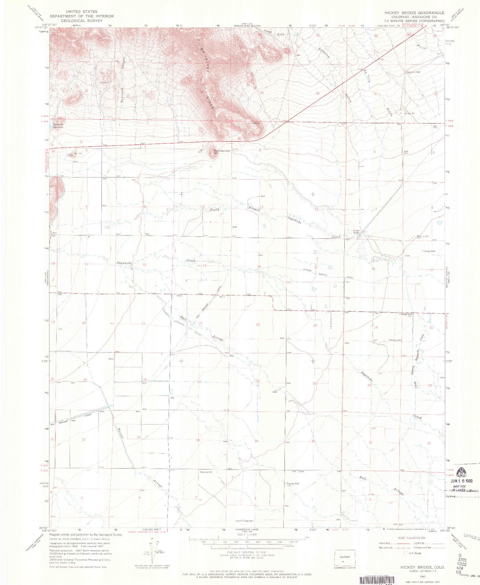 USGS 1:24000-SCALE QUADRANGLE FOR HICKEY BRIDGE, CO 1967