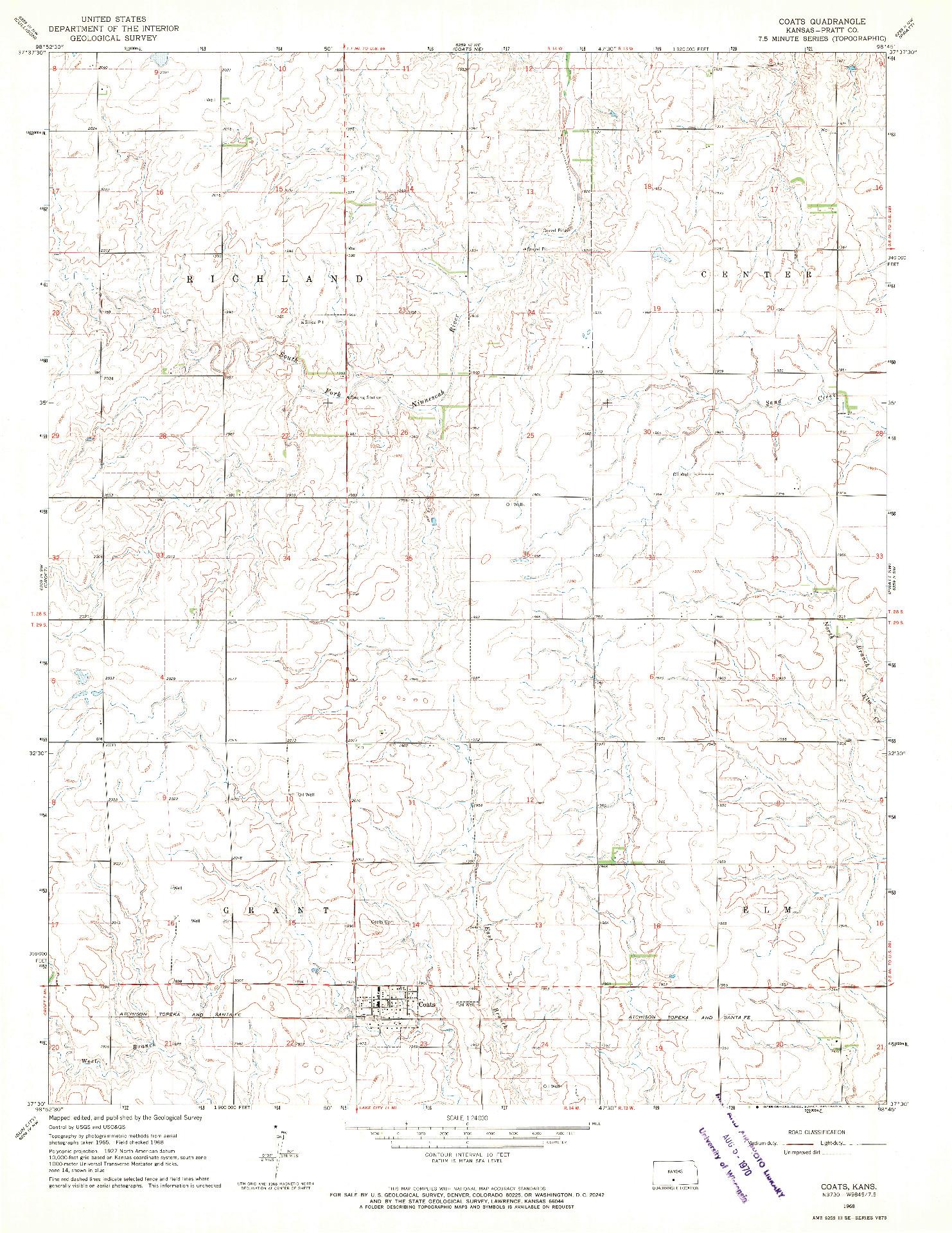 USGS 1:24000-SCALE QUADRANGLE FOR COATS, KS 1968