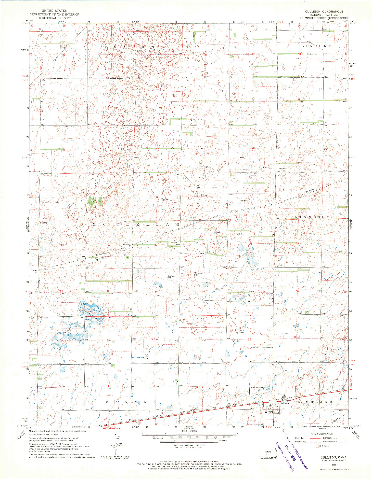 USGS 1:24000-SCALE QUADRANGLE FOR CULLISON, KS 1968