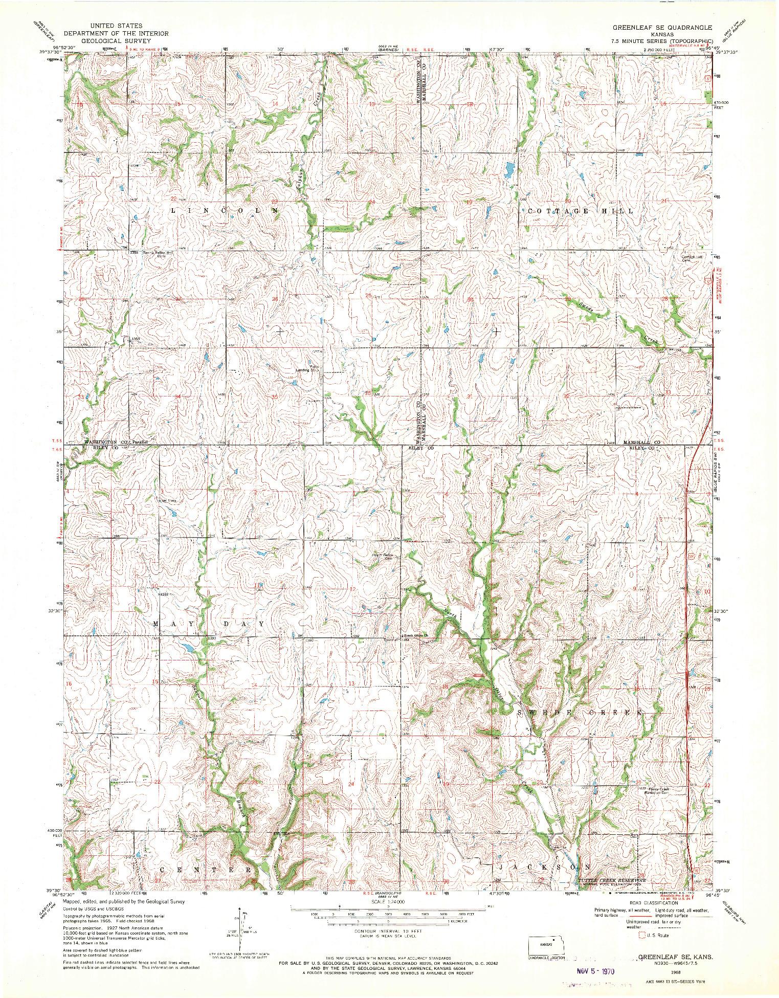 USGS 1:24000-SCALE QUADRANGLE FOR GREENLEAF SE, KS 1968