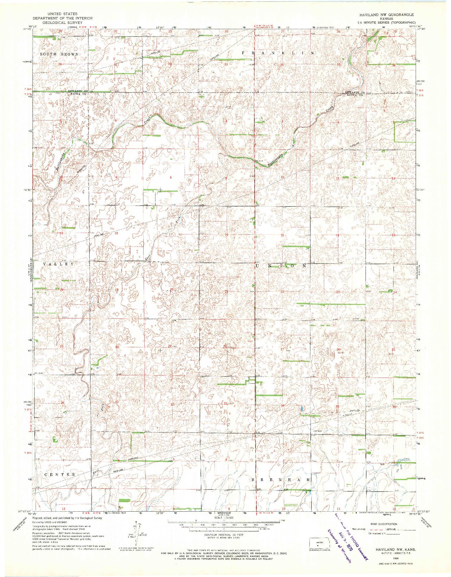 USGS 1:24000-SCALE QUADRANGLE FOR HAVILAND NW, KS 1968