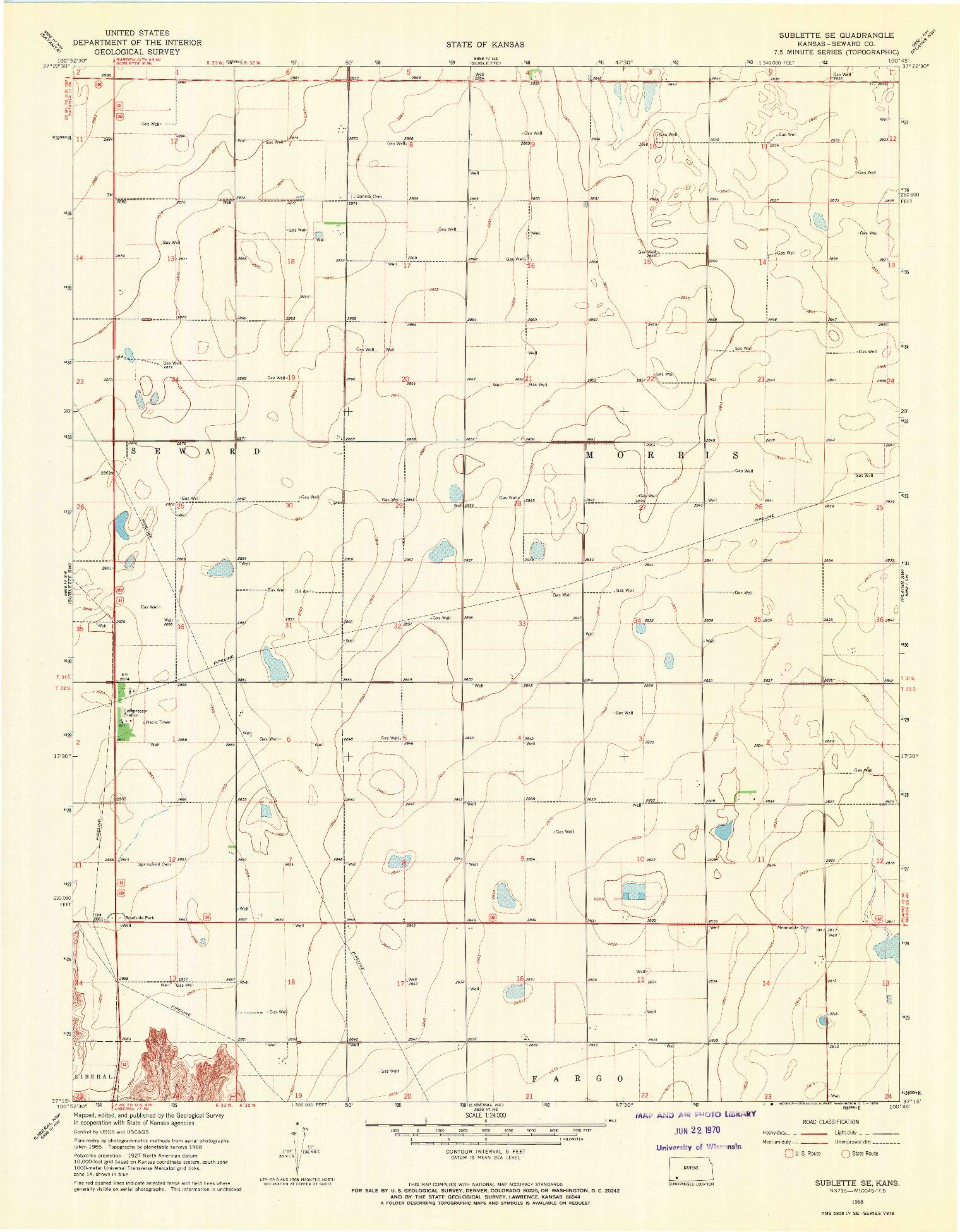 USGS 1:24000-SCALE QUADRANGLE FOR SUBLETTE SE, KS 1968
