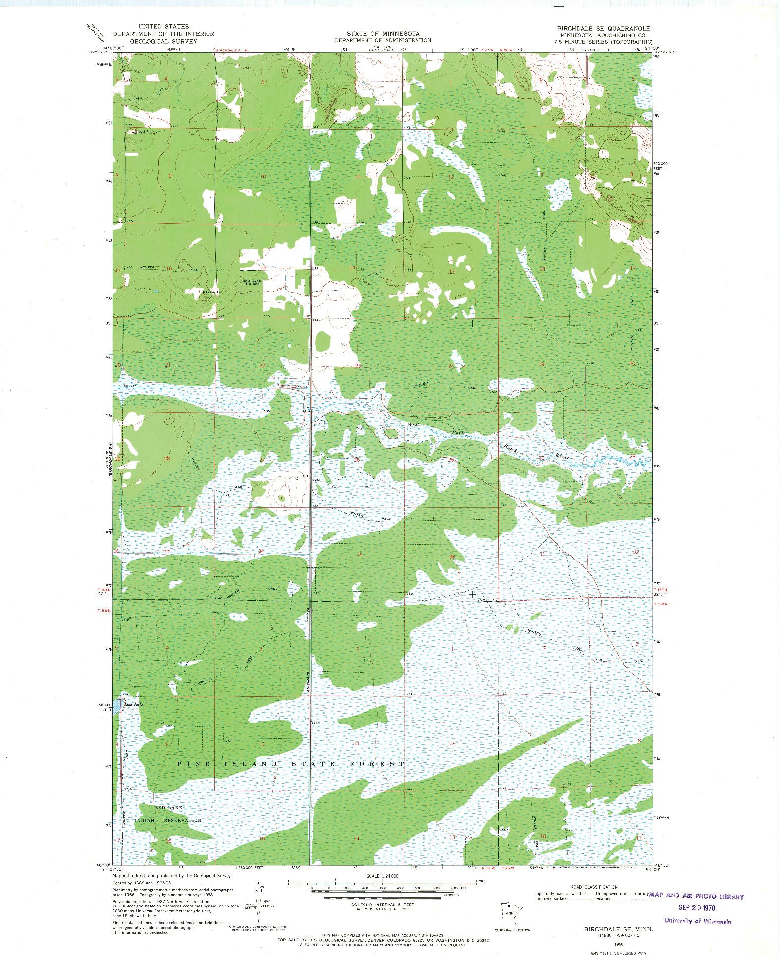 USGS 1:24000-SCALE QUADRANGLE FOR BIRCHDALE SE, MN 1968