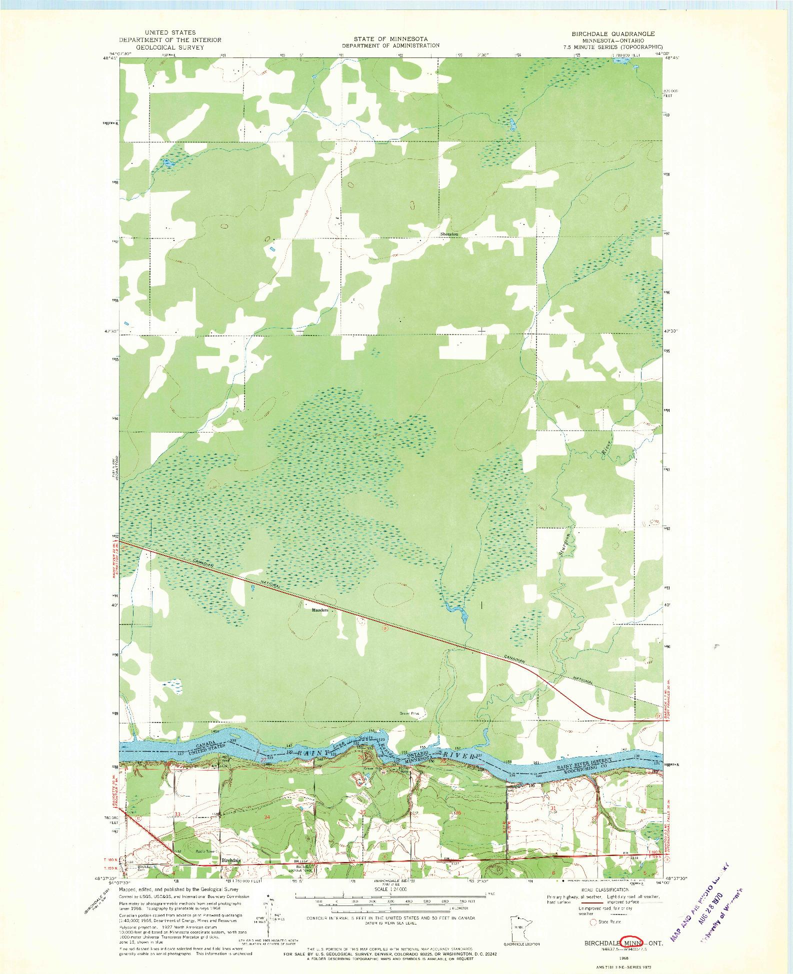 USGS 1:24000-SCALE QUADRANGLE FOR BIRCHDALE, MN 1968