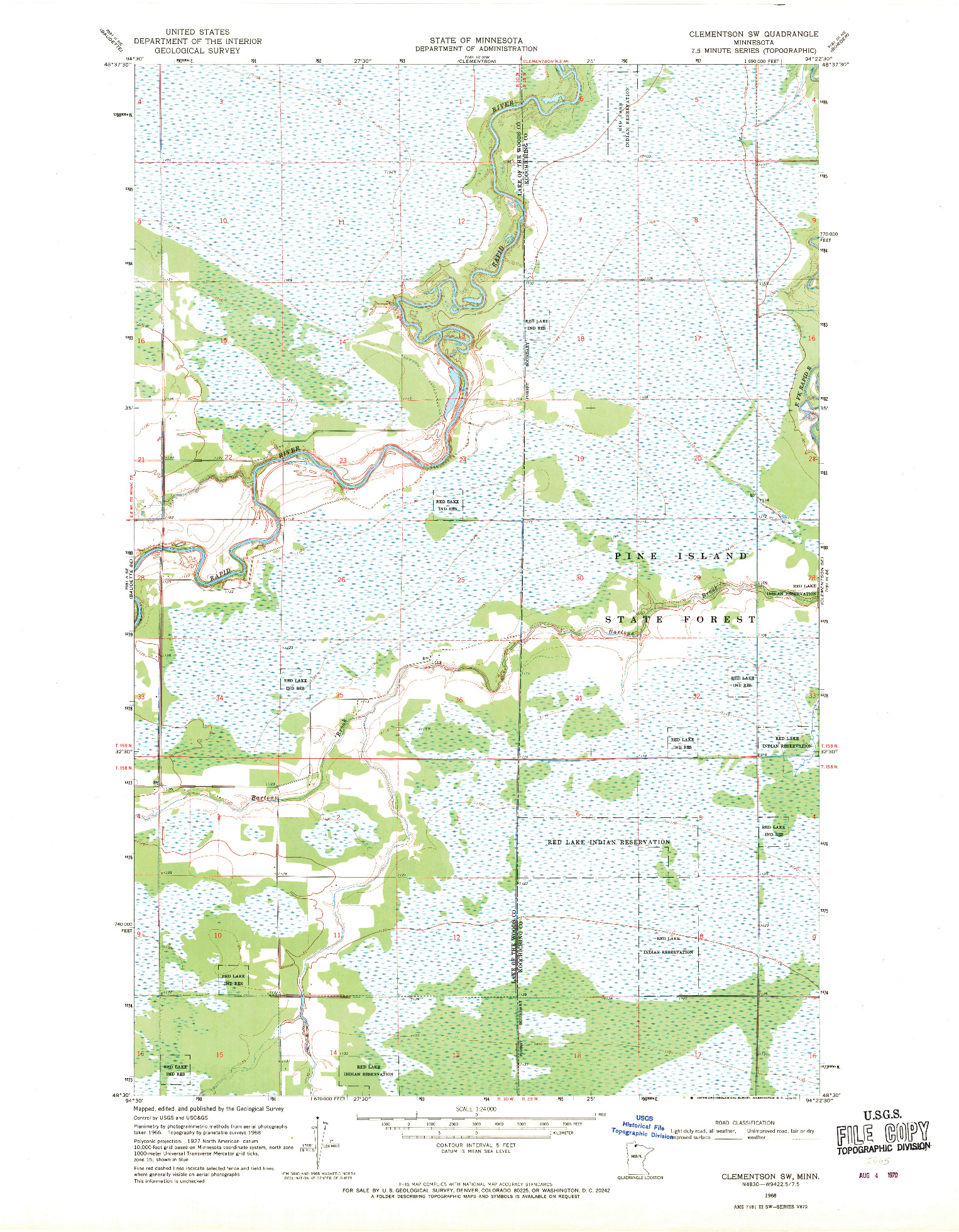 USGS 1:24000-SCALE QUADRANGLE FOR CLEMENTSON SW, MN 1968