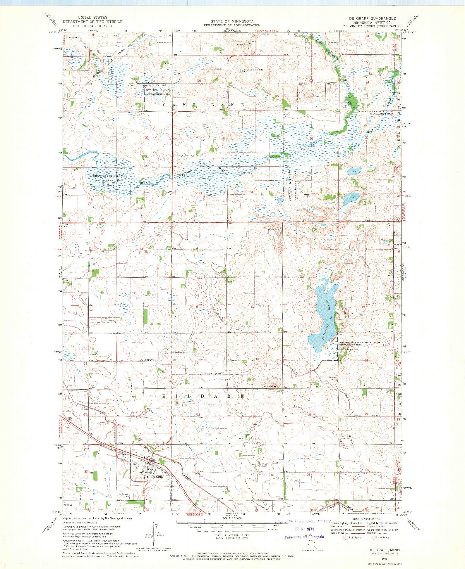 USGS 1:24000-SCALE QUADRANGLE FOR DE GRAFF, MN 1968