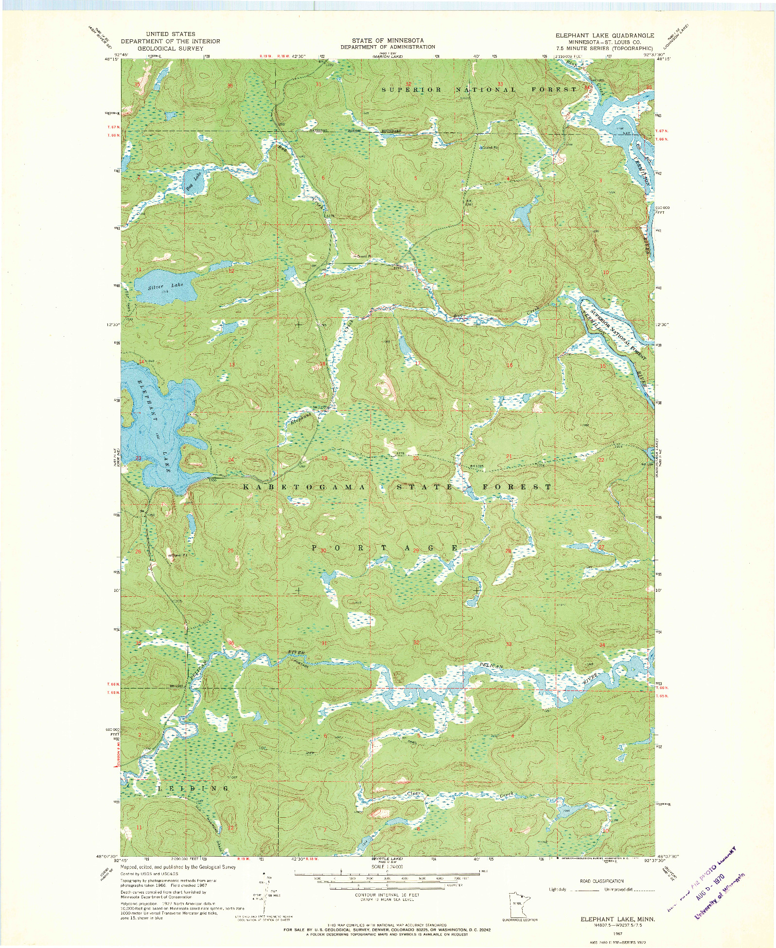 USGS 1:24000-SCALE QUADRANGLE FOR ELEPHANT LAKE, MN 1967