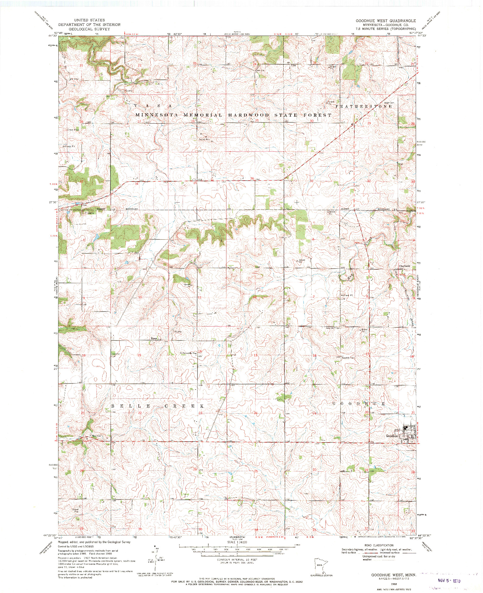 USGS 1:24000-SCALE QUADRANGLE FOR GOODHUE WEST, MN 1968