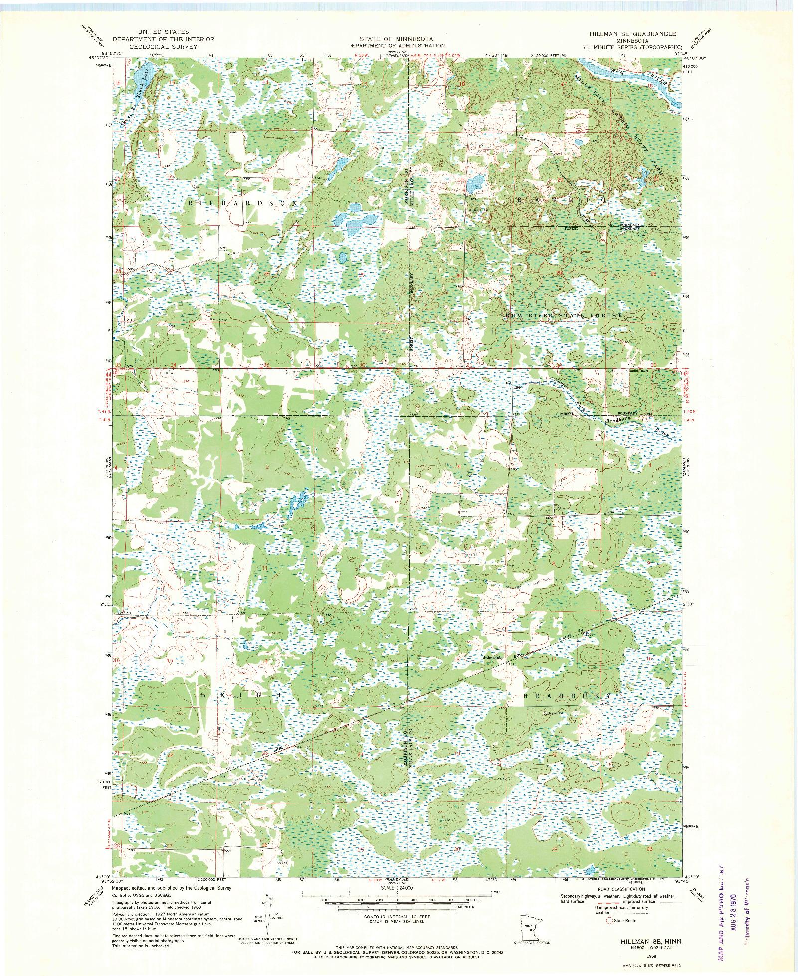 USGS 1:24000-SCALE QUADRANGLE FOR HILLMAN SE, MN 1968