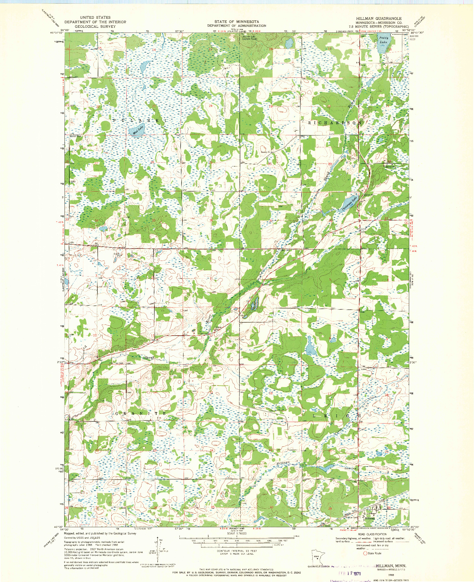USGS 1:24000-SCALE QUADRANGLE FOR HILLMAN, MN 1968