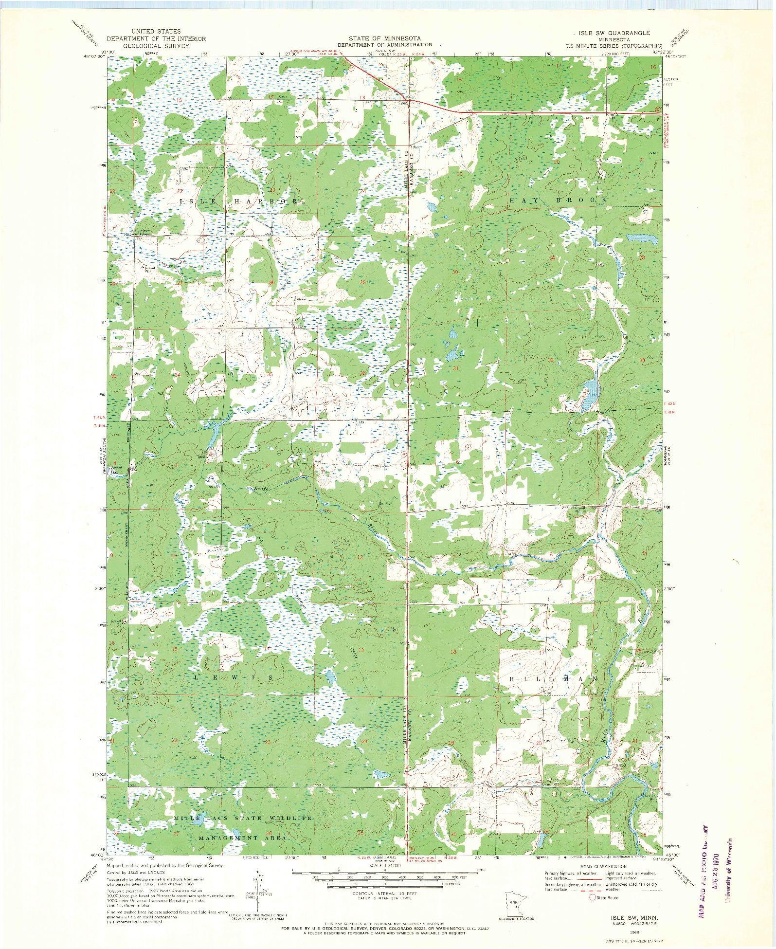 USGS 1:24000-SCALE QUADRANGLE FOR ISLE SW, MN 1968