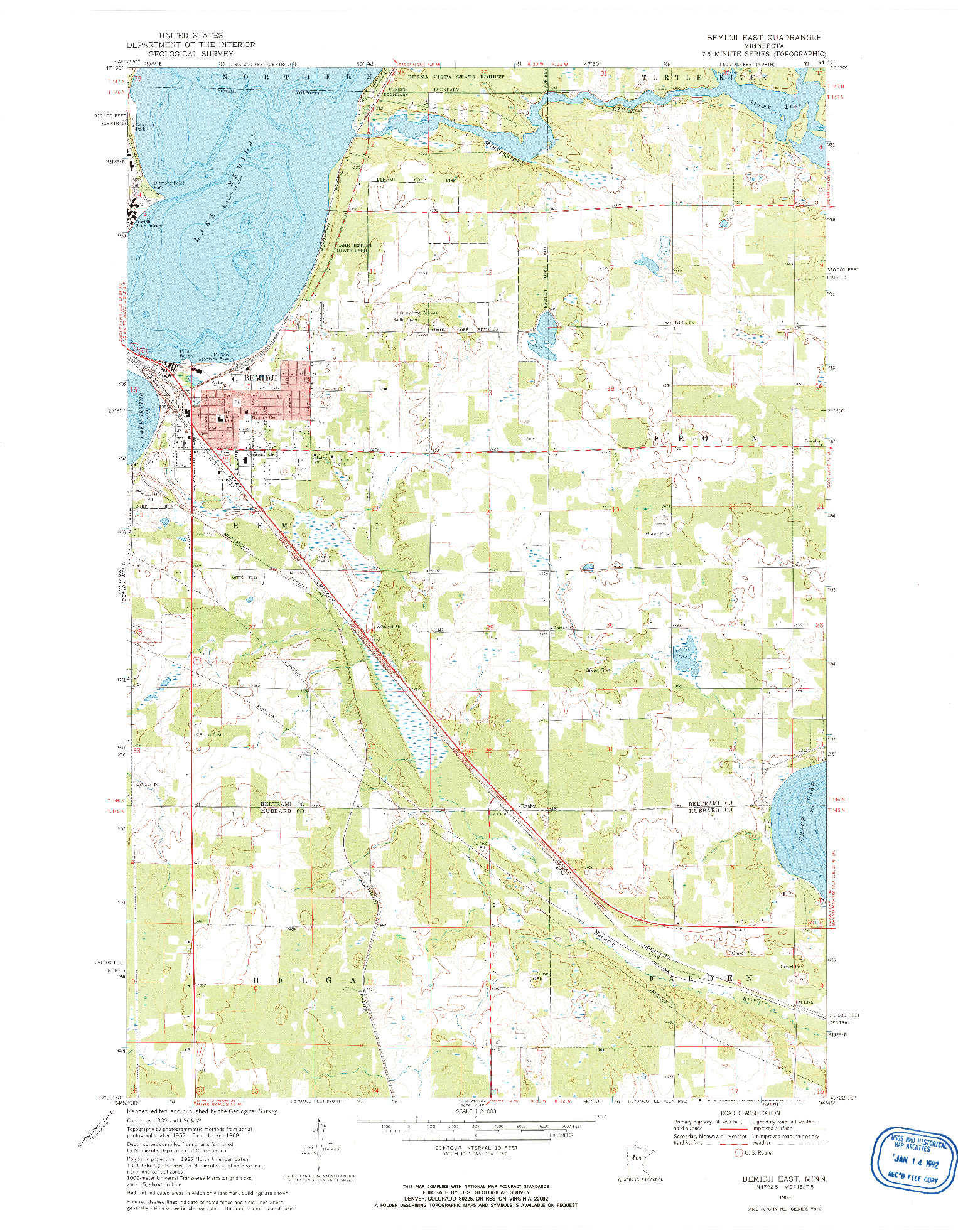 USGS 1:24000-SCALE QUADRANGLE FOR BEMIDJI EAST, MN 1968