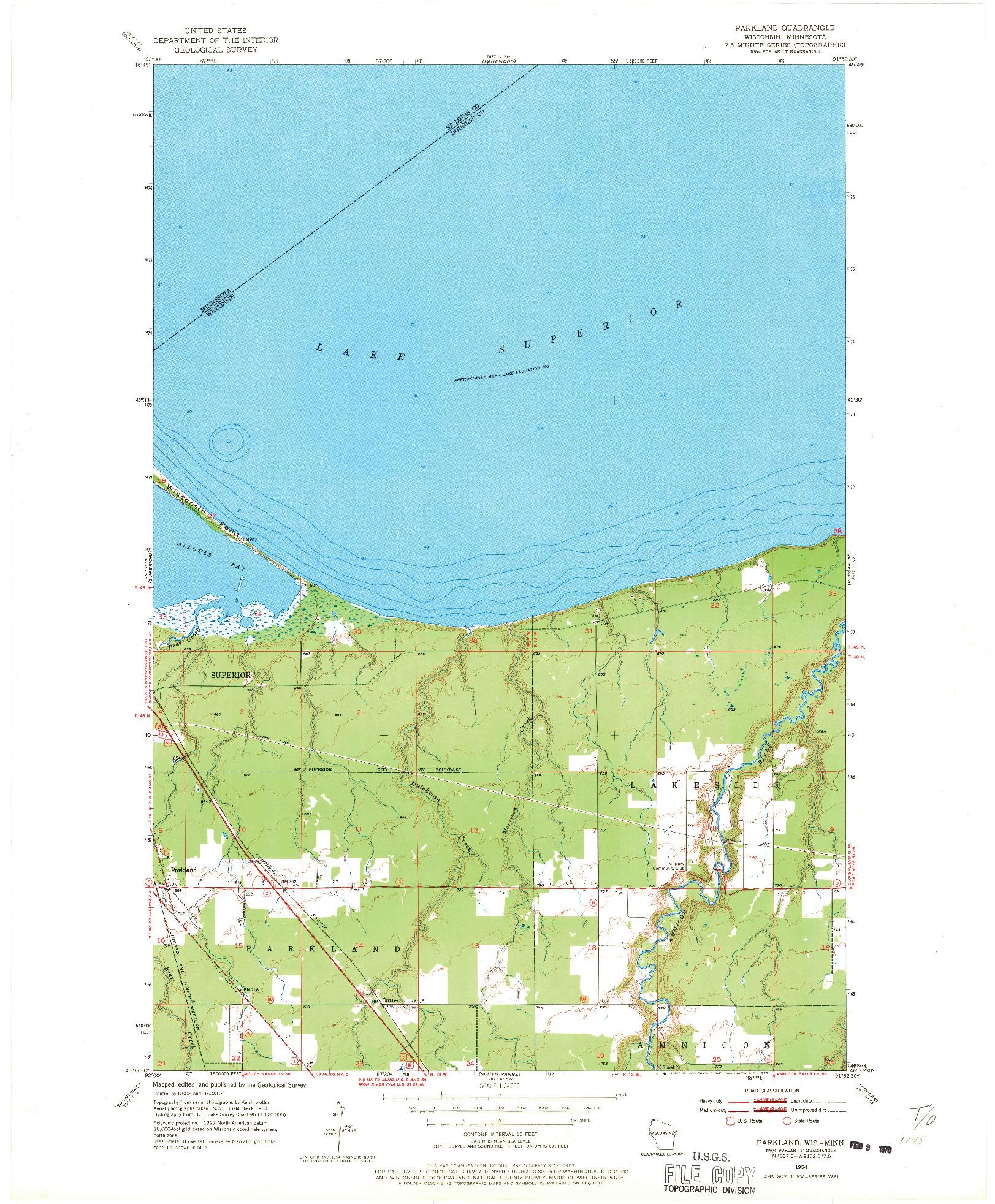 USGS 1:24000-SCALE QUADRANGLE FOR PARKLAND, WI 1954