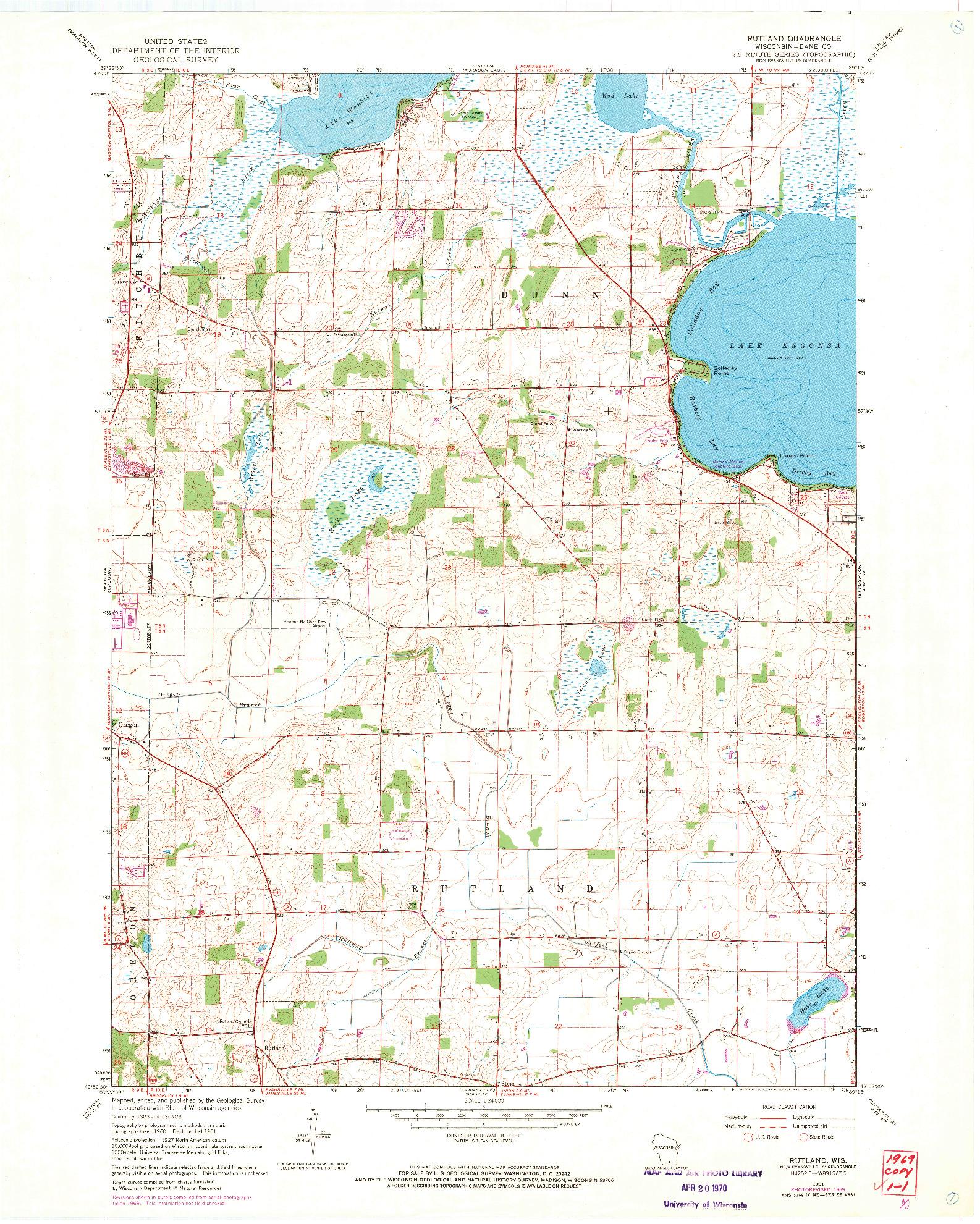 USGS 1:24000-SCALE QUADRANGLE FOR RUTLAND, WI 1961