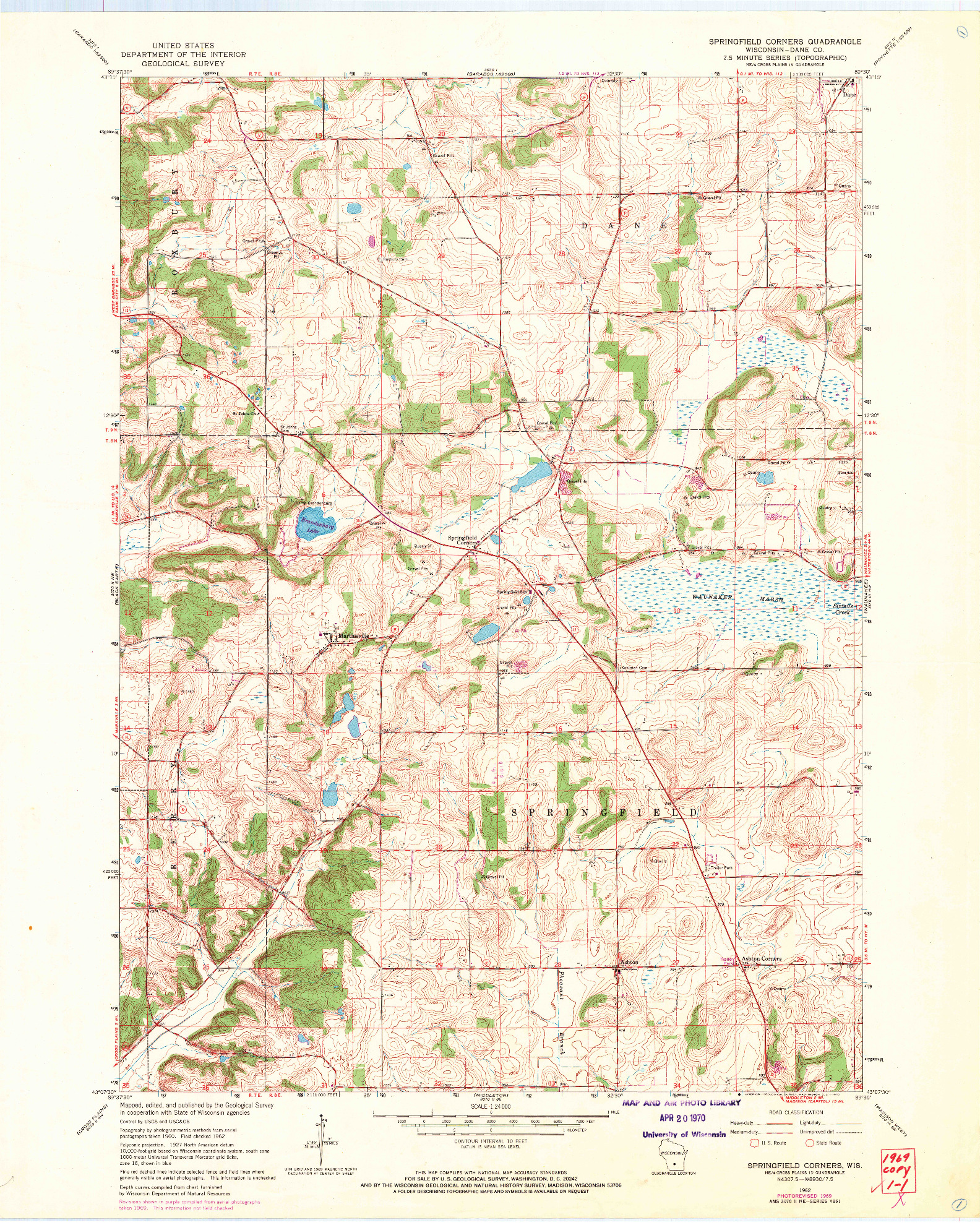 USGS 1:24000-SCALE QUADRANGLE FOR SPRINGFIELD CORNERS, WI 1962