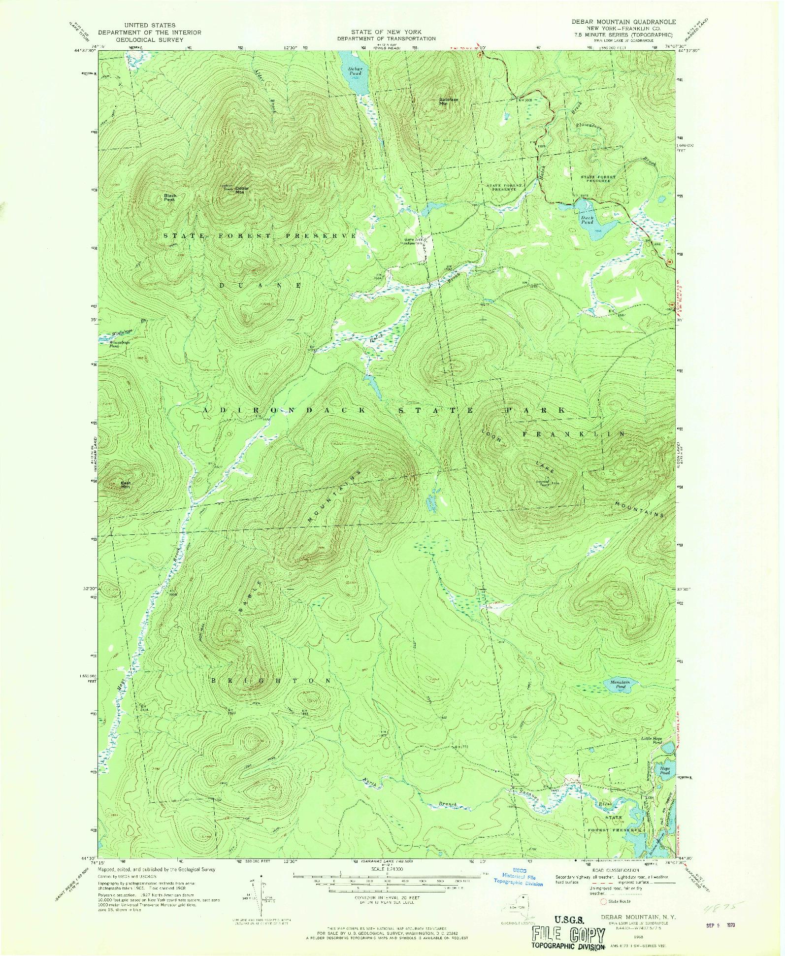 USGS 1:24000-SCALE QUADRANGLE FOR DEBAR MOUNTAIN, NY 1968