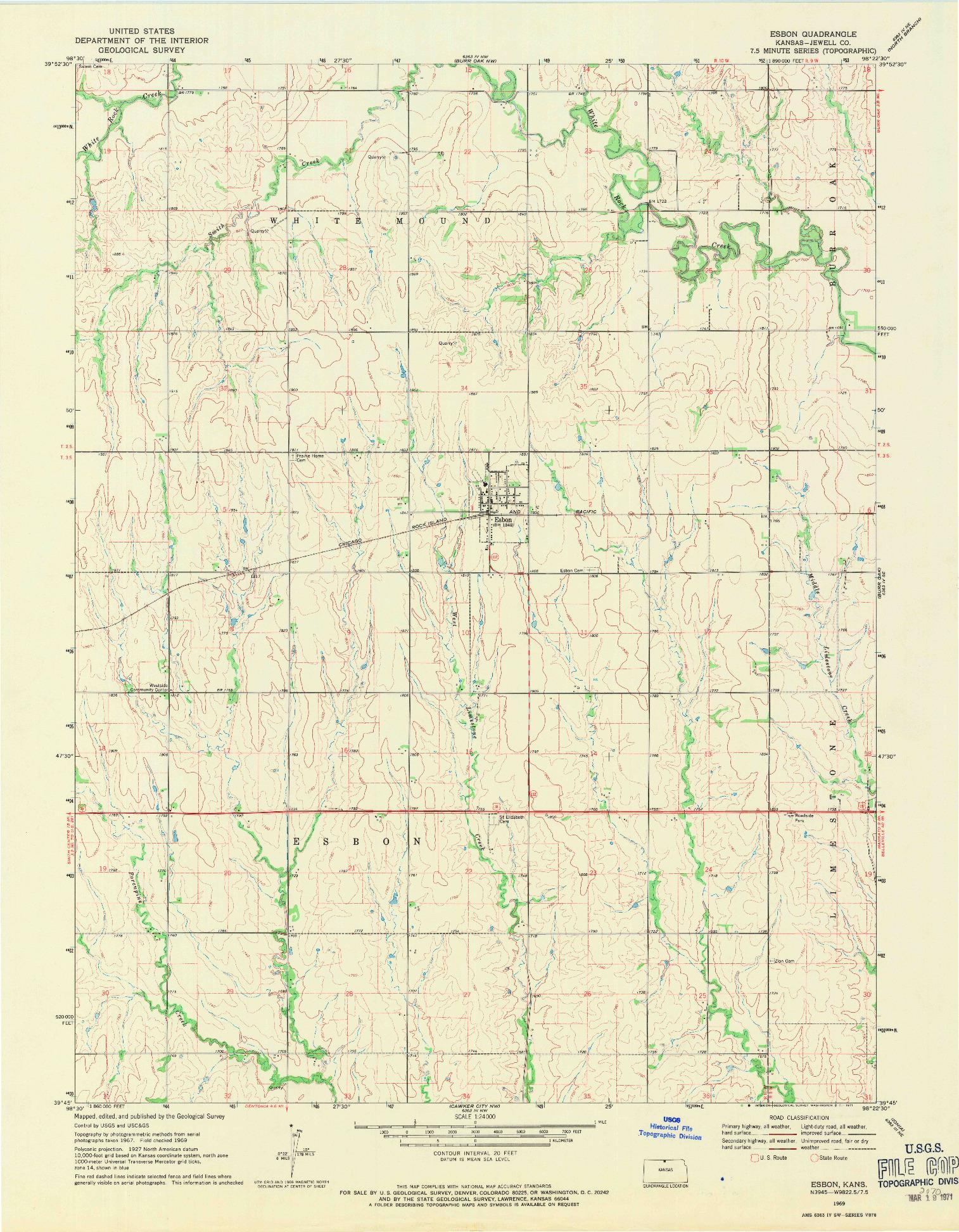 USGS 1:24000-SCALE QUADRANGLE FOR ESBON, KS 1969