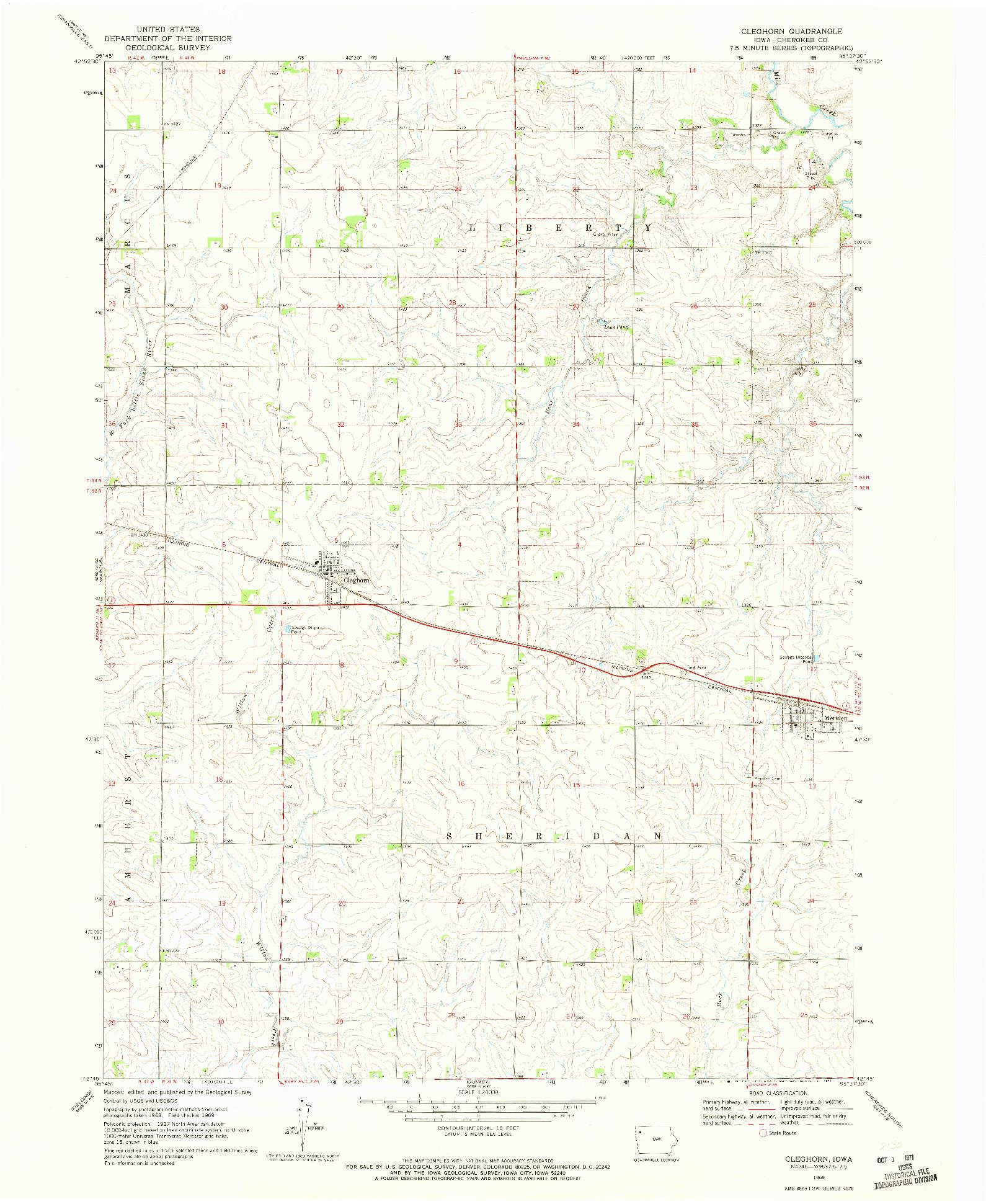 USGS 1:24000-SCALE QUADRANGLE FOR CLEGHORN, IA 1969