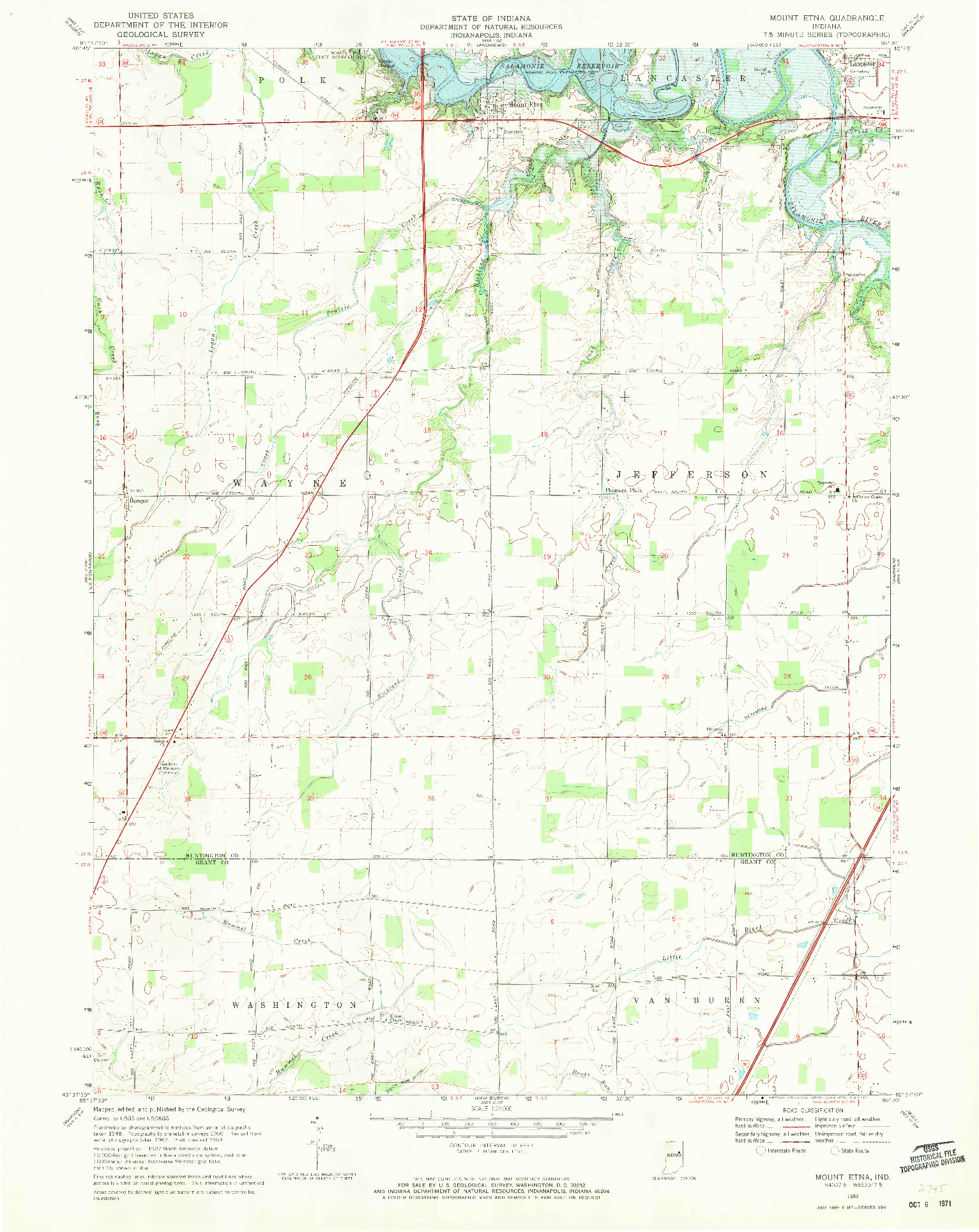 USGS 1:24000-SCALE QUADRANGLE FOR MOUNT ETNA, IN 1969