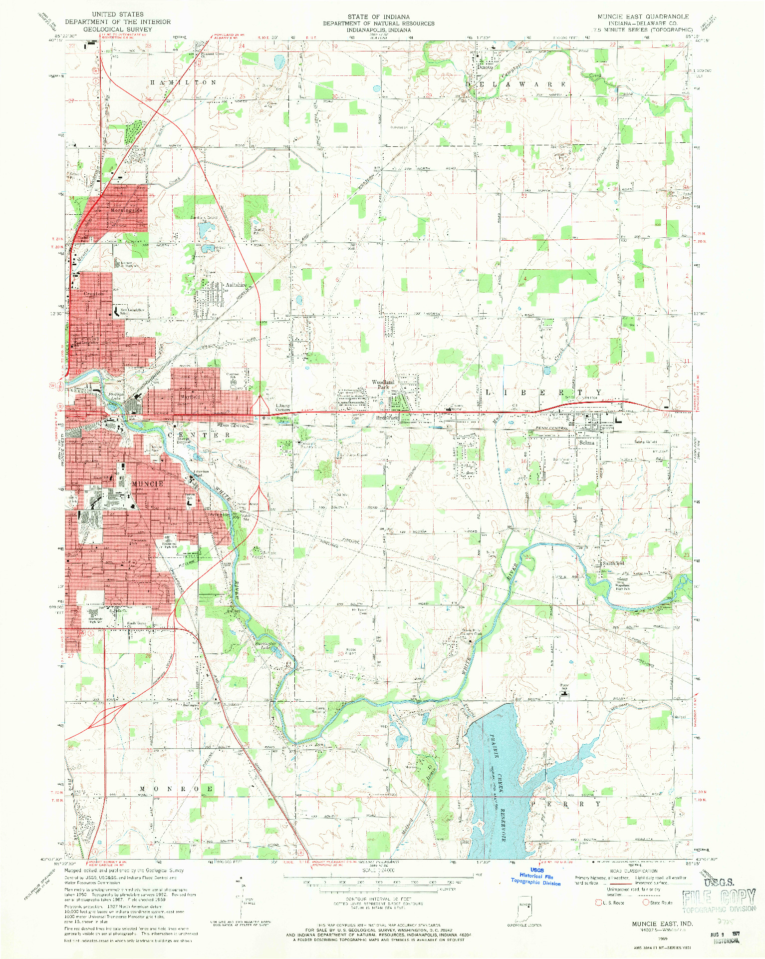 USGS 1:24000-SCALE QUADRANGLE FOR MUNCIE EAST, IN 1969