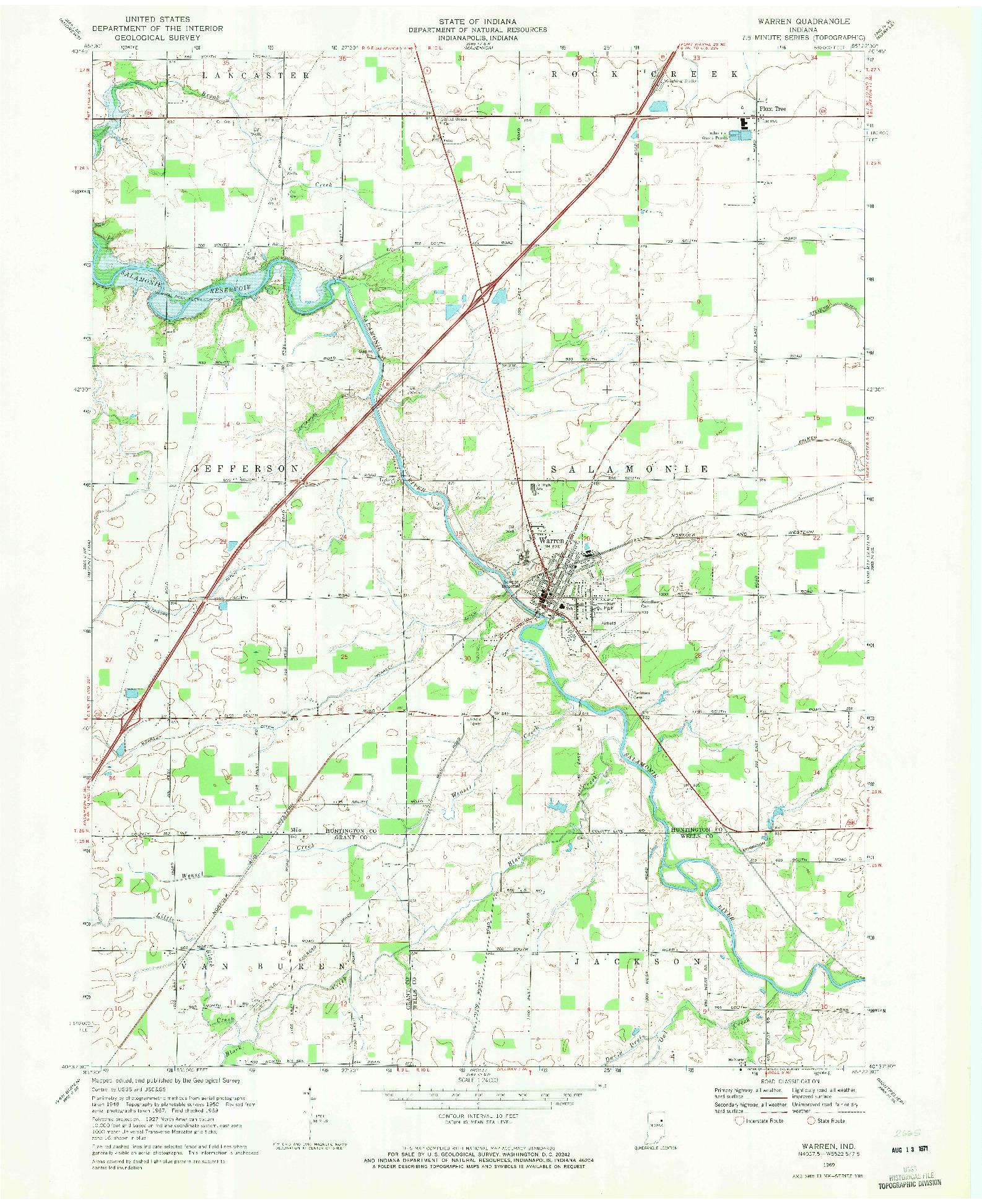 USGS 1:24000-SCALE QUADRANGLE FOR WARREN, IN 1969