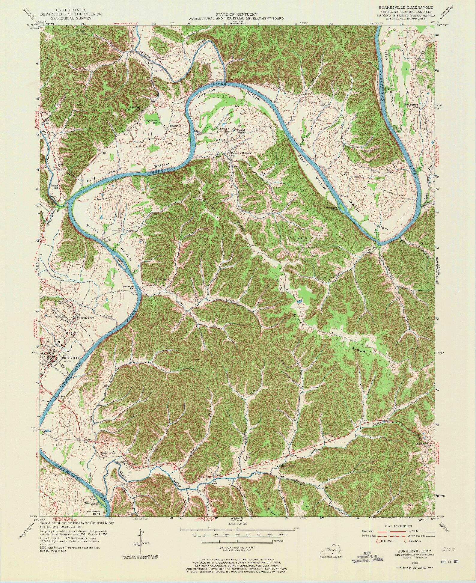 USGS 1:24000-SCALE QUADRANGLE FOR BURKESVILLE, KY 1953