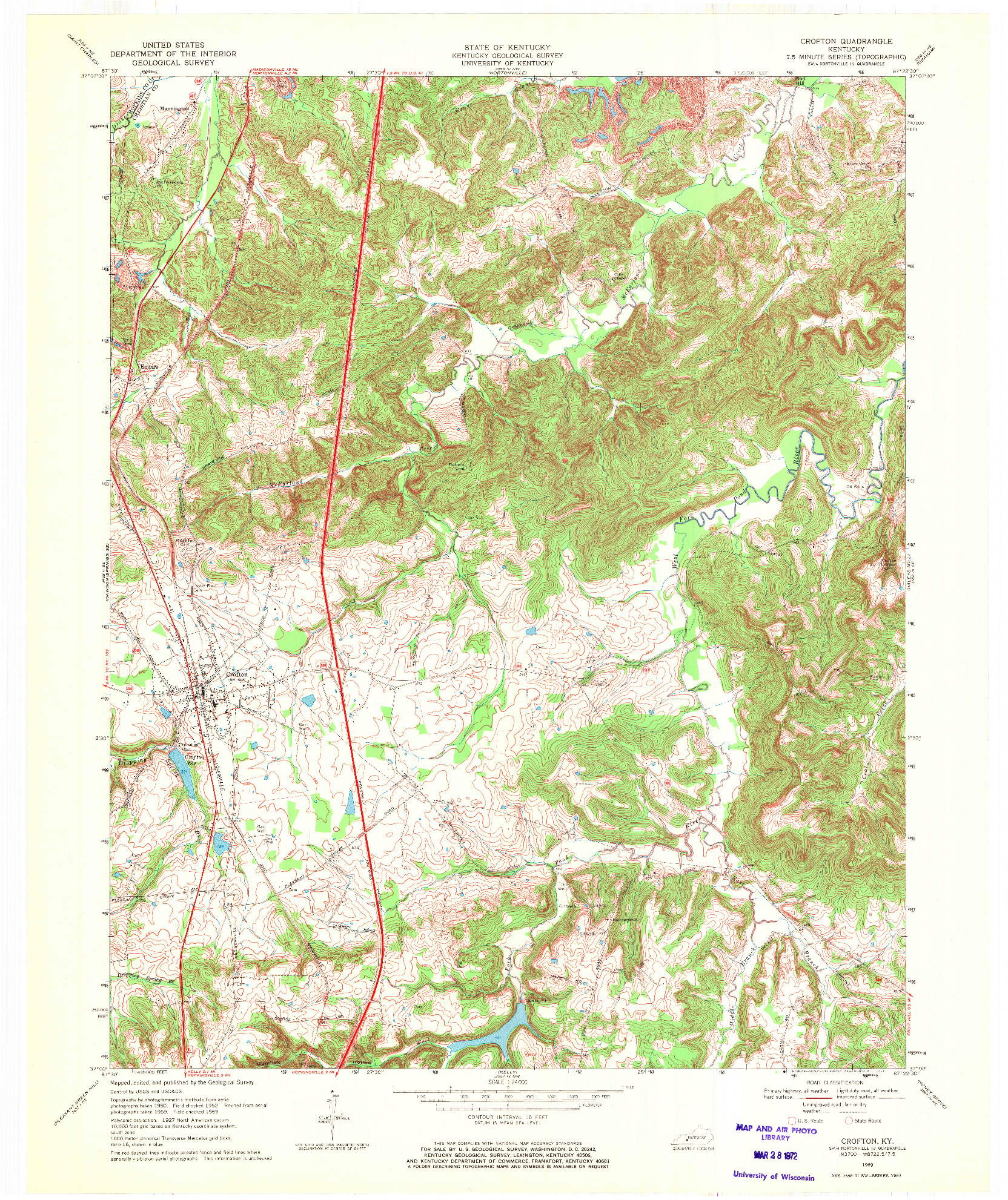 USGS 1:24000-SCALE QUADRANGLE FOR CROFTON, KY 1969