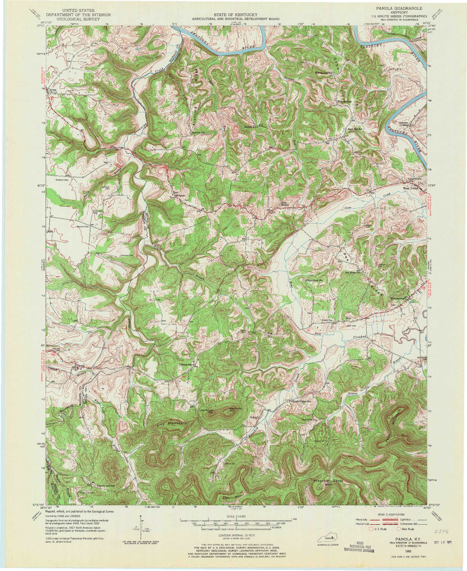 USGS 1:24000-SCALE QUADRANGLE FOR PANOLA, KY 1952