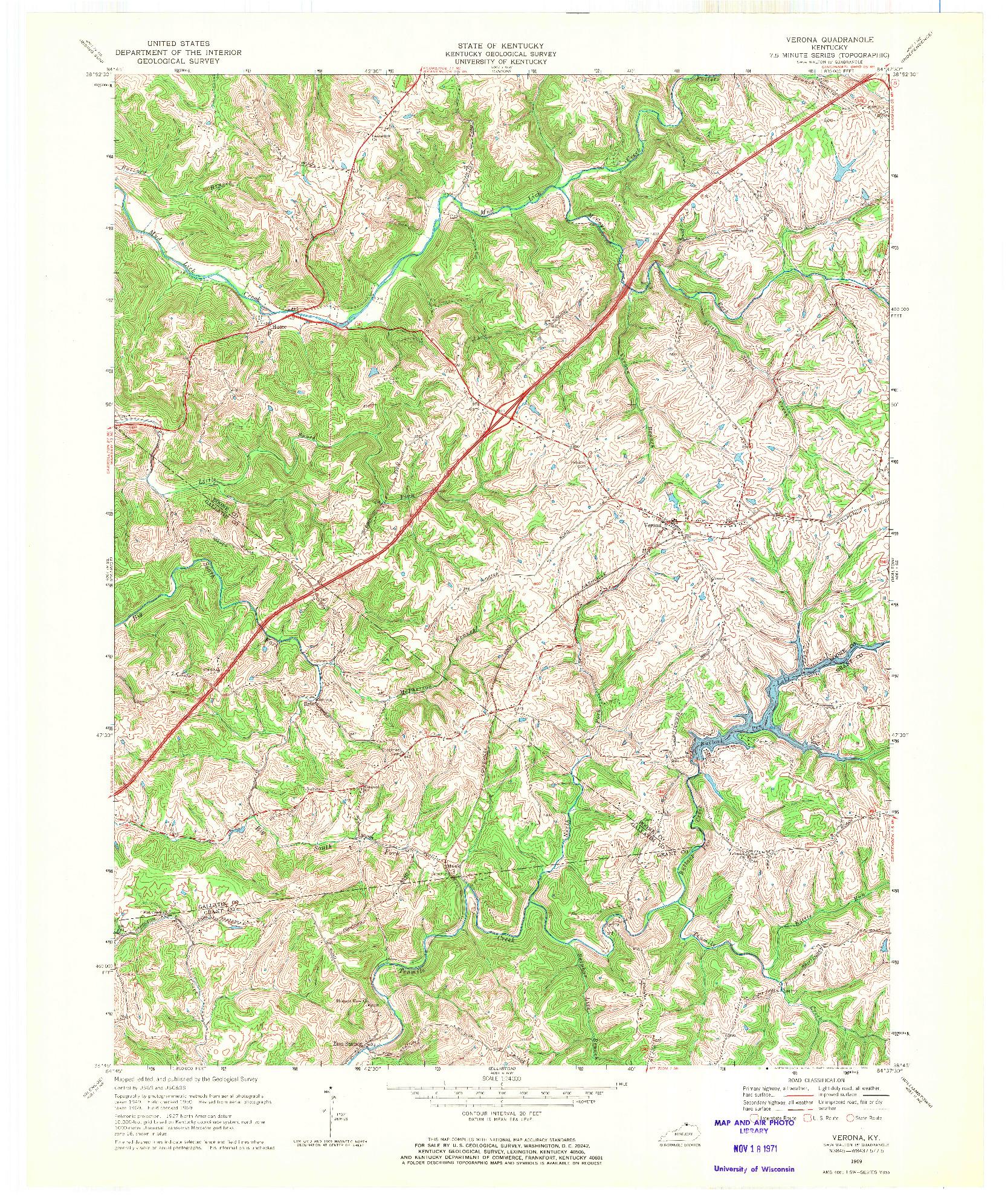 USGS 1:24000-SCALE QUADRANGLE FOR VERONA, KY 1969